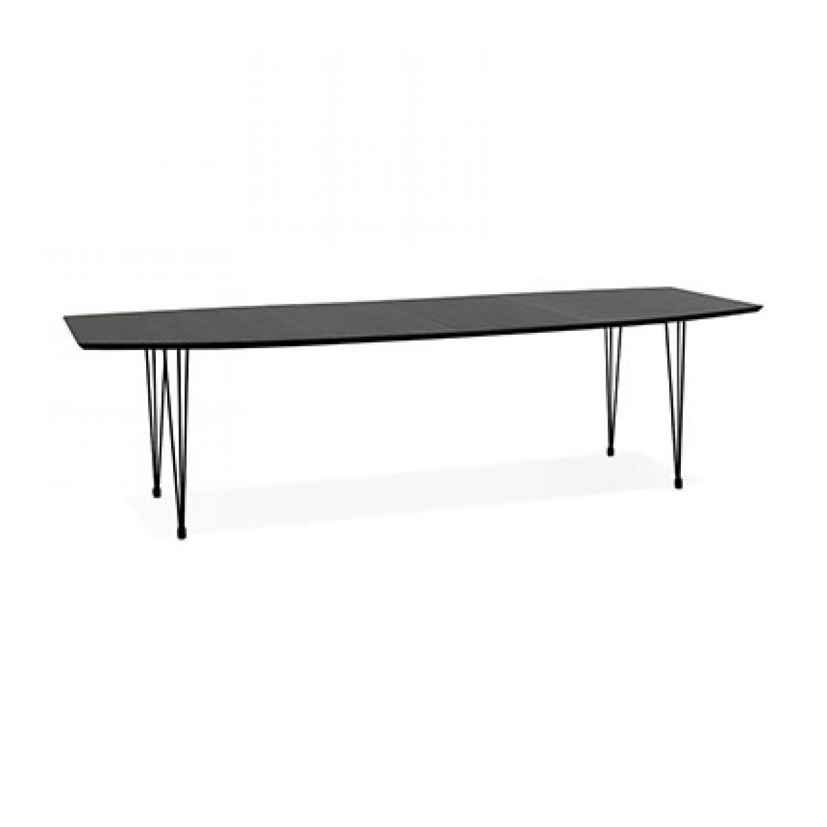 Kokoon Design Table à manger 270 cm en bois noir et métal