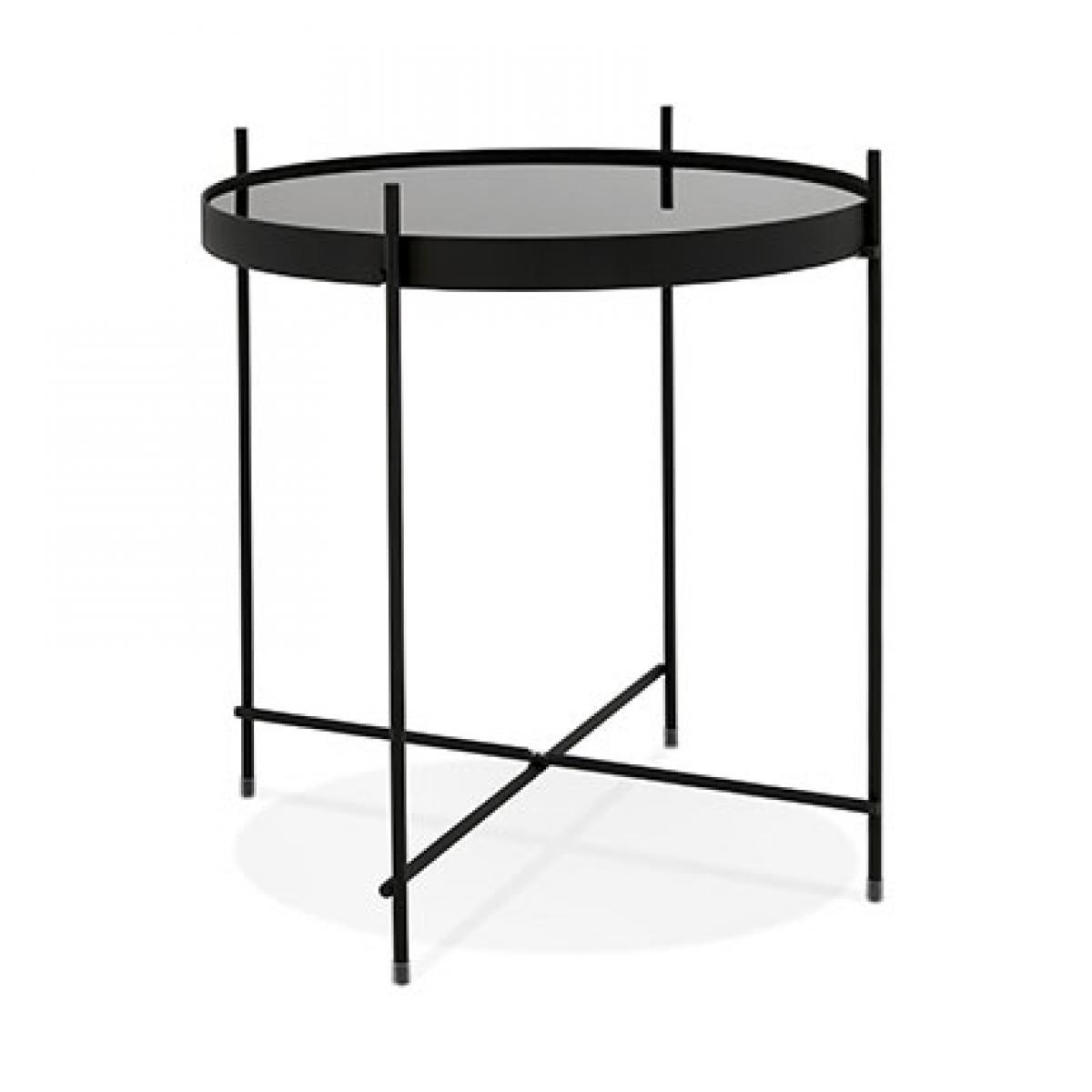 Kokoon Design Table basse design ronde 42,7x45 cm en verre et métal noir - JULIO