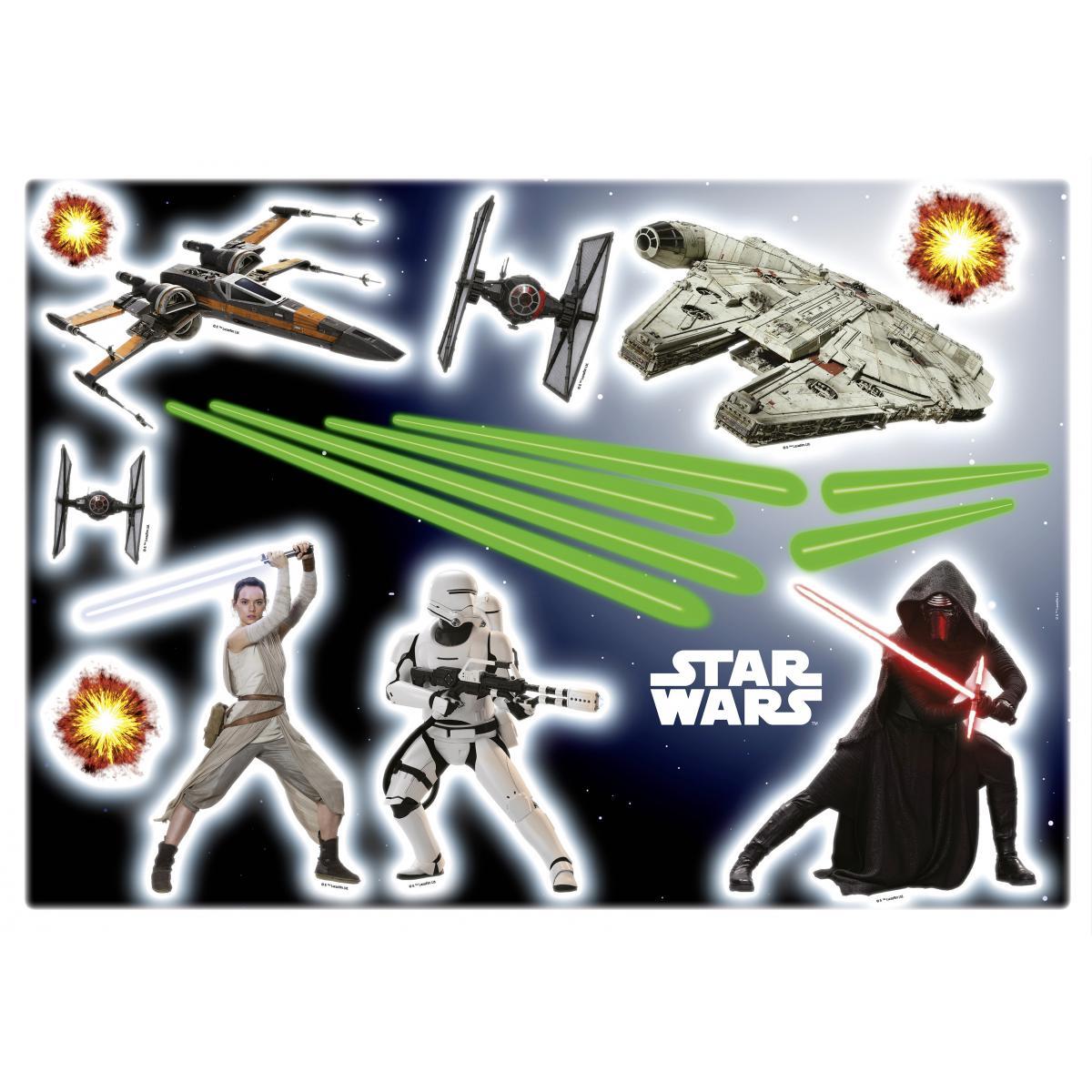 Komar 17 Stickers géant War Star Wars Rey, stormtrooper, et vaisseaux spaciaux 50 x 70 cm
