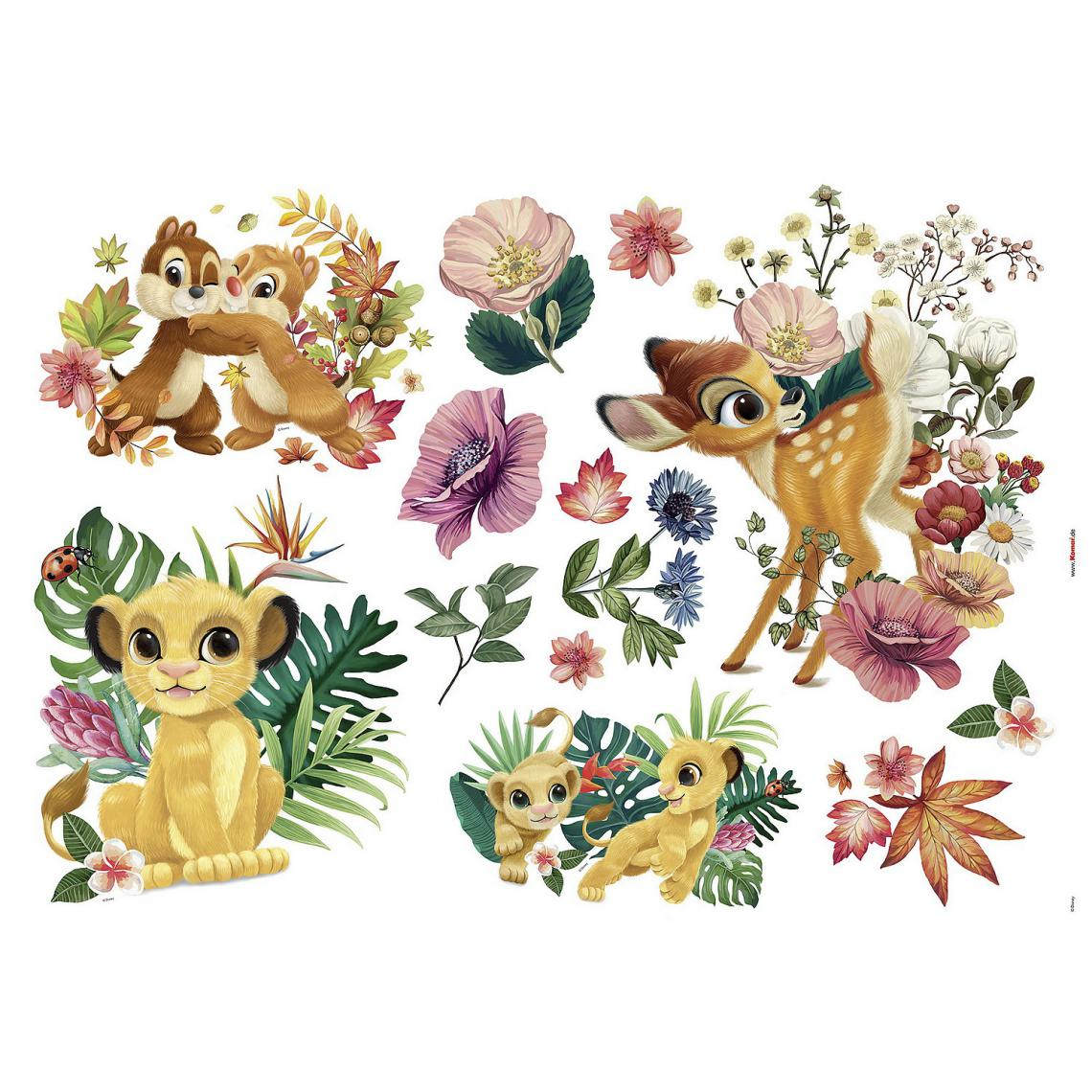 Komar Sticker mural géant Be in Nature Simba, Timon et Pumba Le Roi Lion Disney