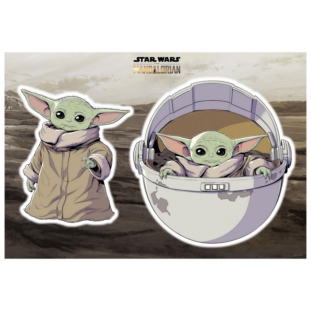 Komar Stickers Muraux géant Mandolorian Baby Yoda The Child Star Wars 50 x 70 cm