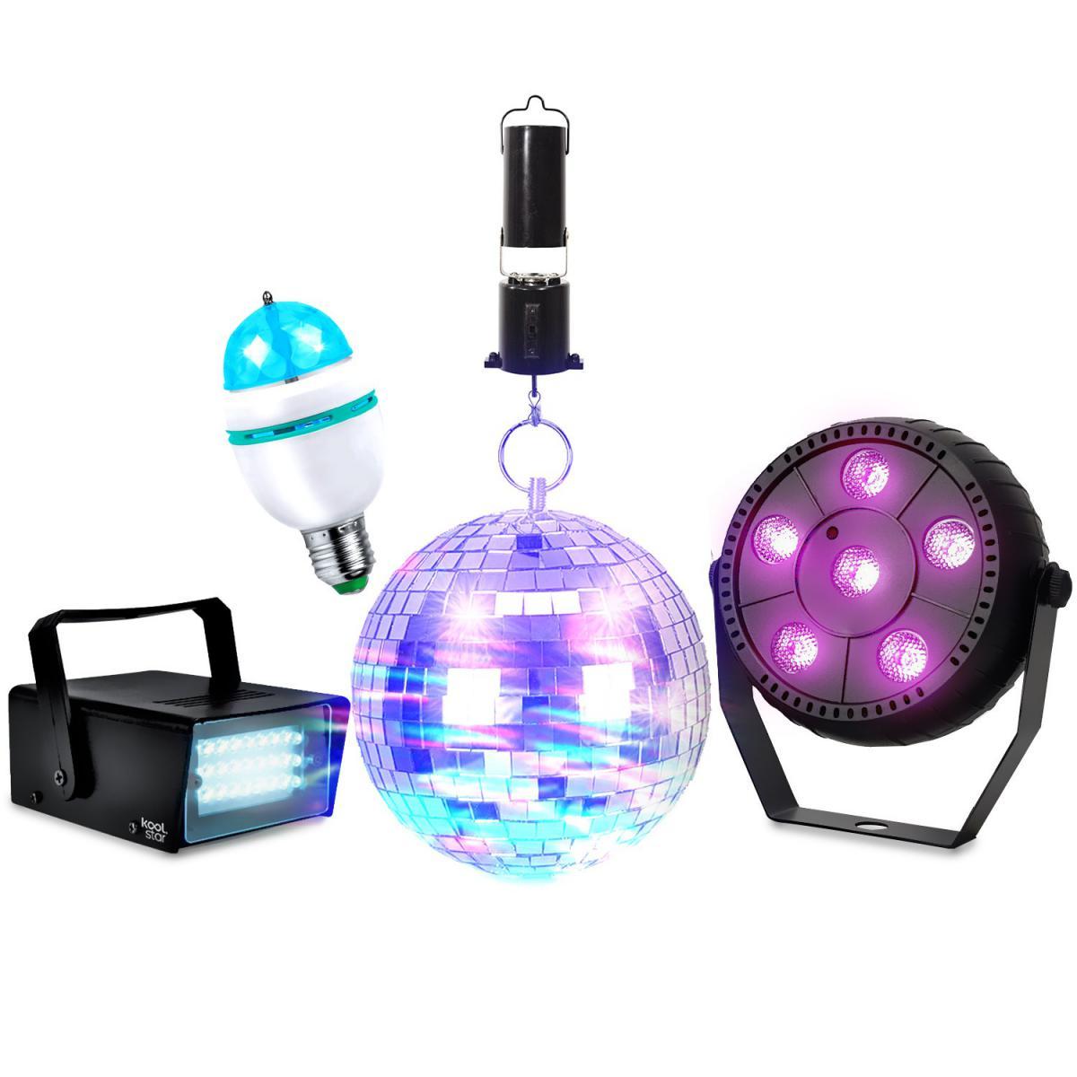 Koolstar Pack Jeux de lumières Boule à facettes 16cm + Moteur KOOLSTAR PACK DISCO Mini Strobe 24 LED - PAR SLIM 6 LED + Ampoule D