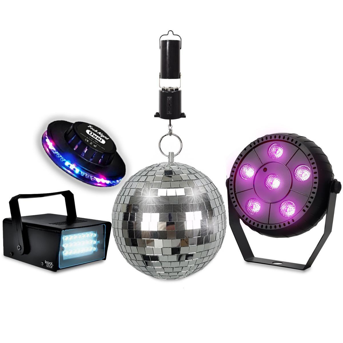 Koolstar Pack Jeux de lumières KOOLSTAR PACKDISCO Mini Strobe 24 LED - PAR SLIM 6 LED + Soucoupe OVNI - Boule à facettes 16cm + M