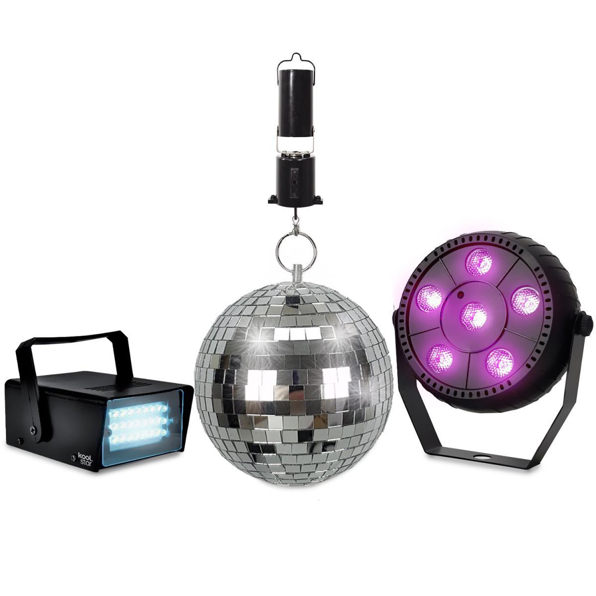 Koolstar Pack Jeux de lumlères KOOLSTAR PACKDISCO Mini Strobe 24 LED - PAR SLIM à 6 LED Full couleur - Boule à facettes 16cm 6 +