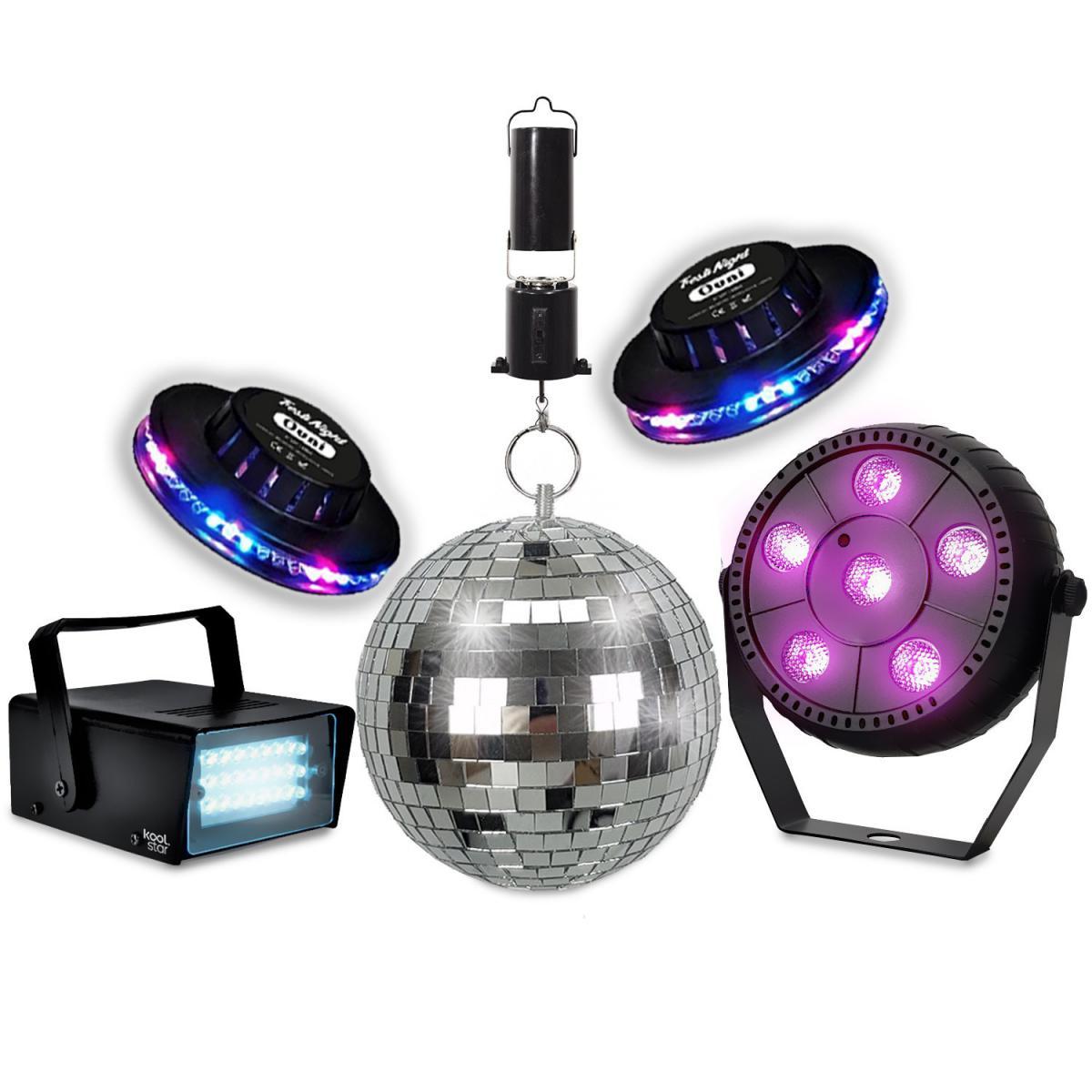 Koolstar Pack lumières KOOLSTAR PACKDISCO Mini Strobe 24 LED - PAR SLIM 6 LED + 2x Soucoupes OVNI - Boule à facettes 16cm + Moteu