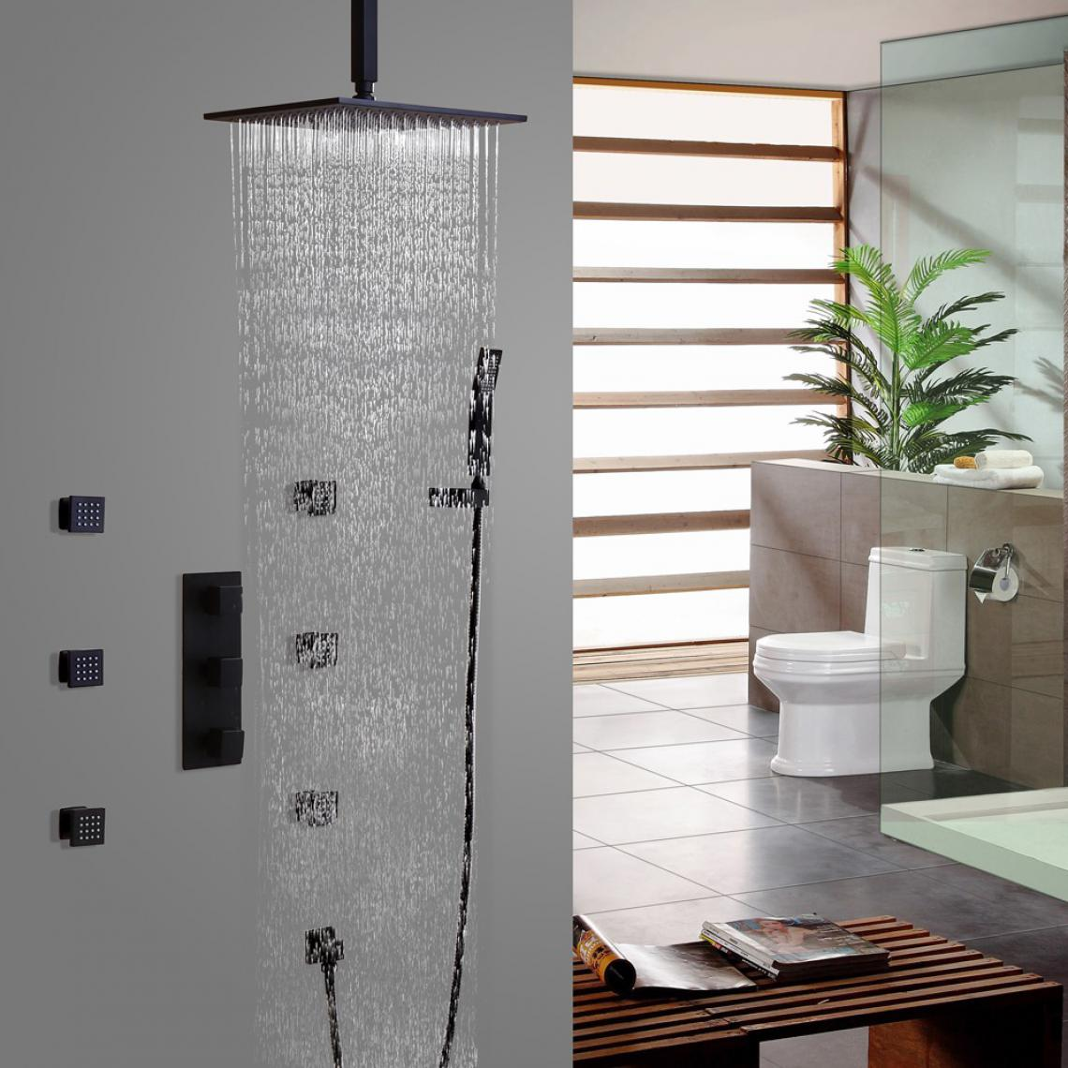 Kroos Système de douche plafond thermostatique en noir vanne thermostatique avec support mural 250 mm
