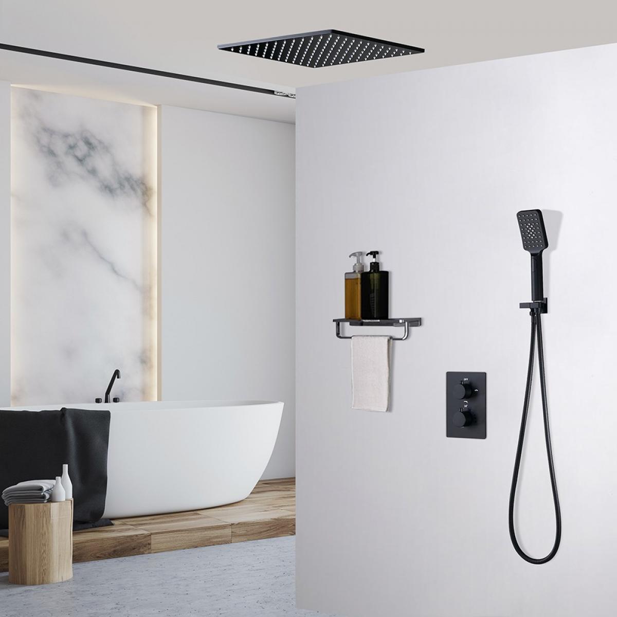 Kroos Système de douche thermostatique à double fonctions - Noir