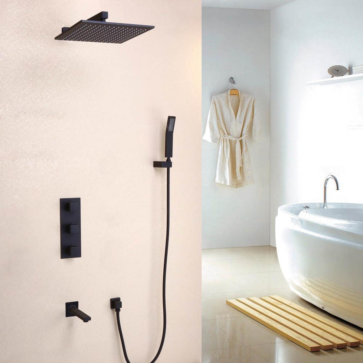 Kroos Système de douche thermostatique mural noir laiton massif thermostatique support mural 250 mm