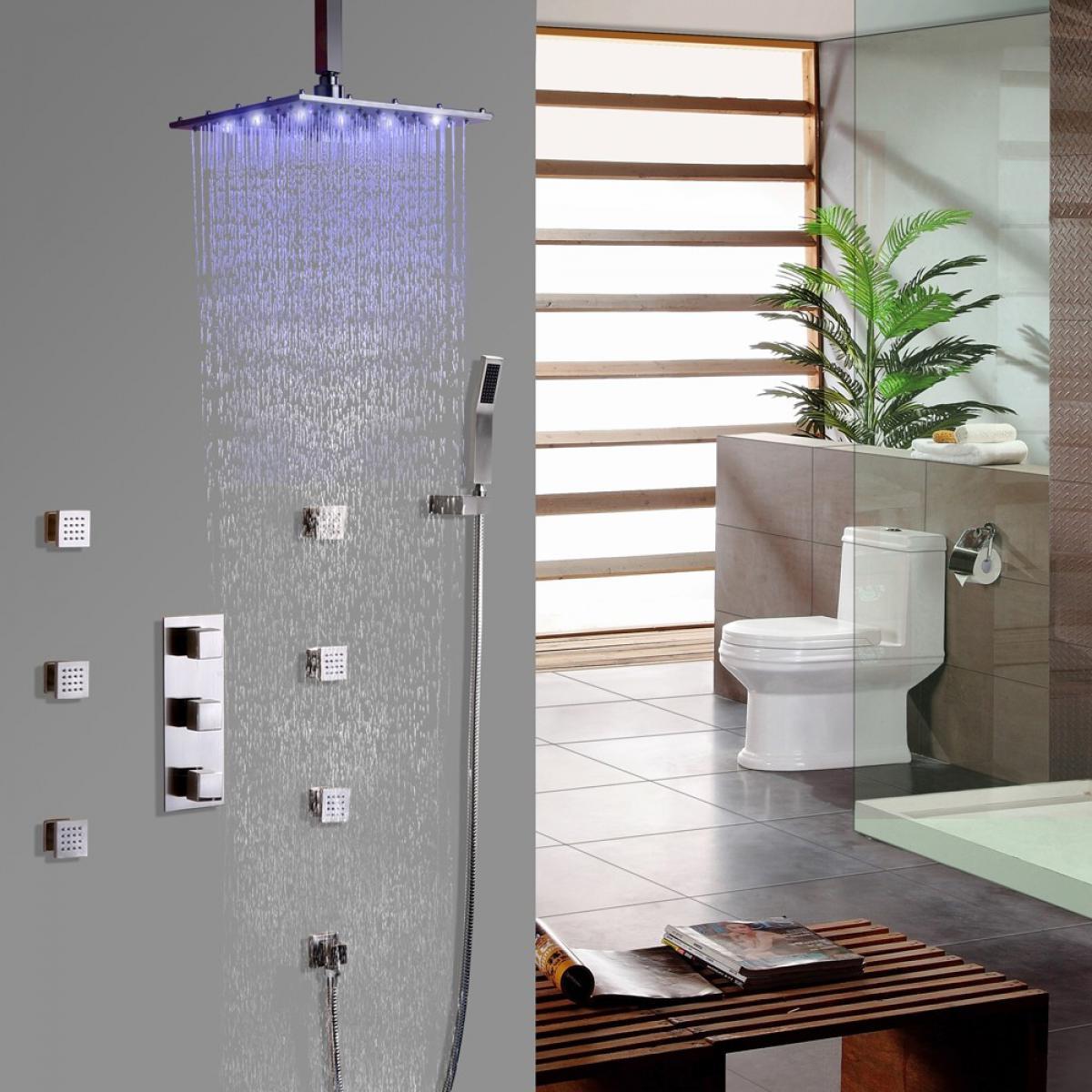 Kroos Système de douche thermostatique nickel brossé thermostatique Barre de douche Avec LED 250 mm