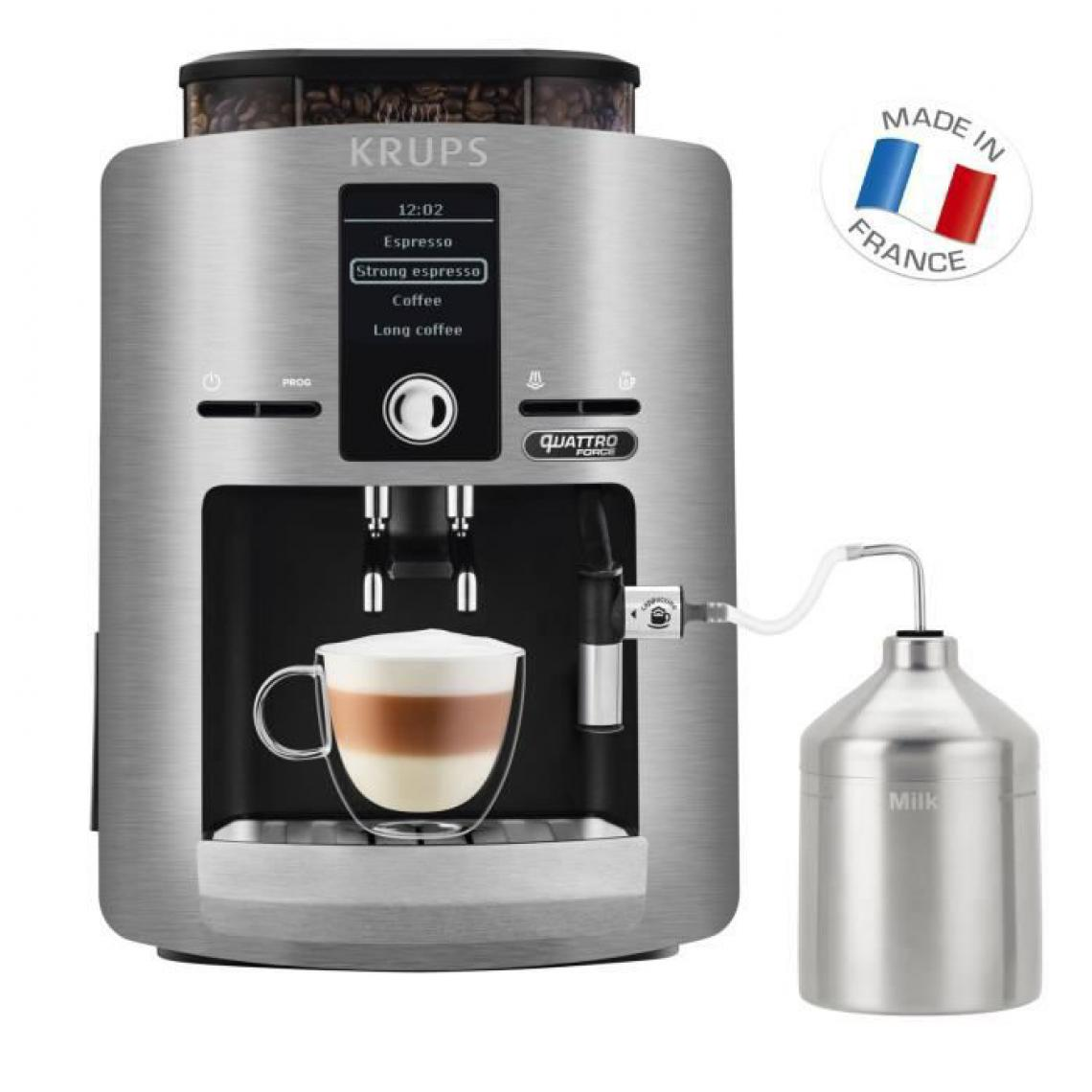 Krups Krups Espresseria Silver Machine a Café Broyeur Grain Ecran LCD Quattro Force Cafetiere Expresso Cappuccinos YY3069FD