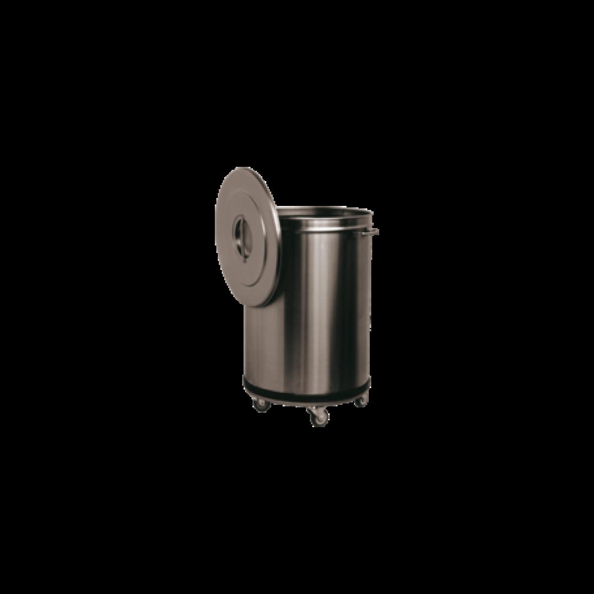 L2G Bac à Déchets 90 L Inox Roulant -