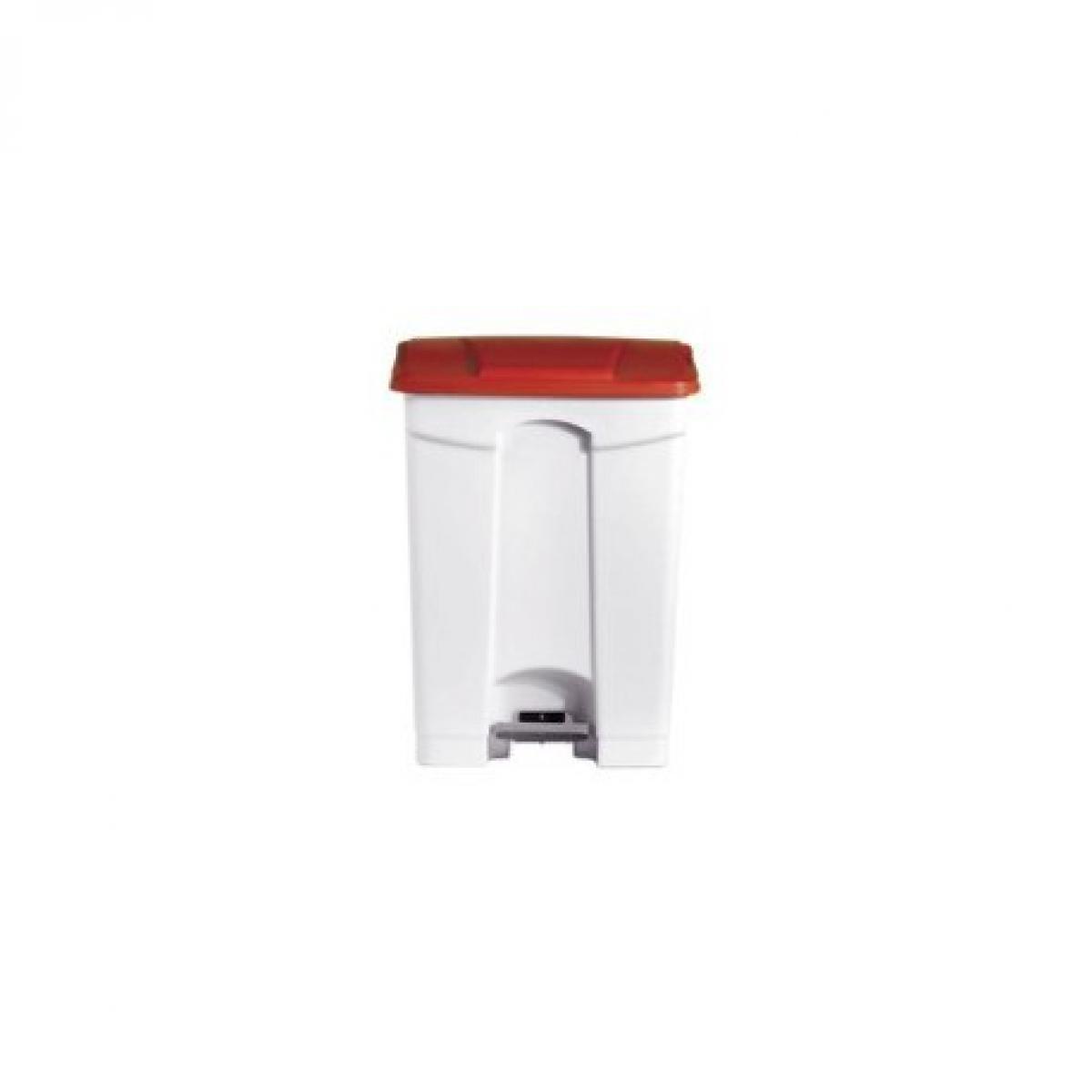 L2G Poubelle Blanche 90 litres avec Couvercle Rouge - L2G -