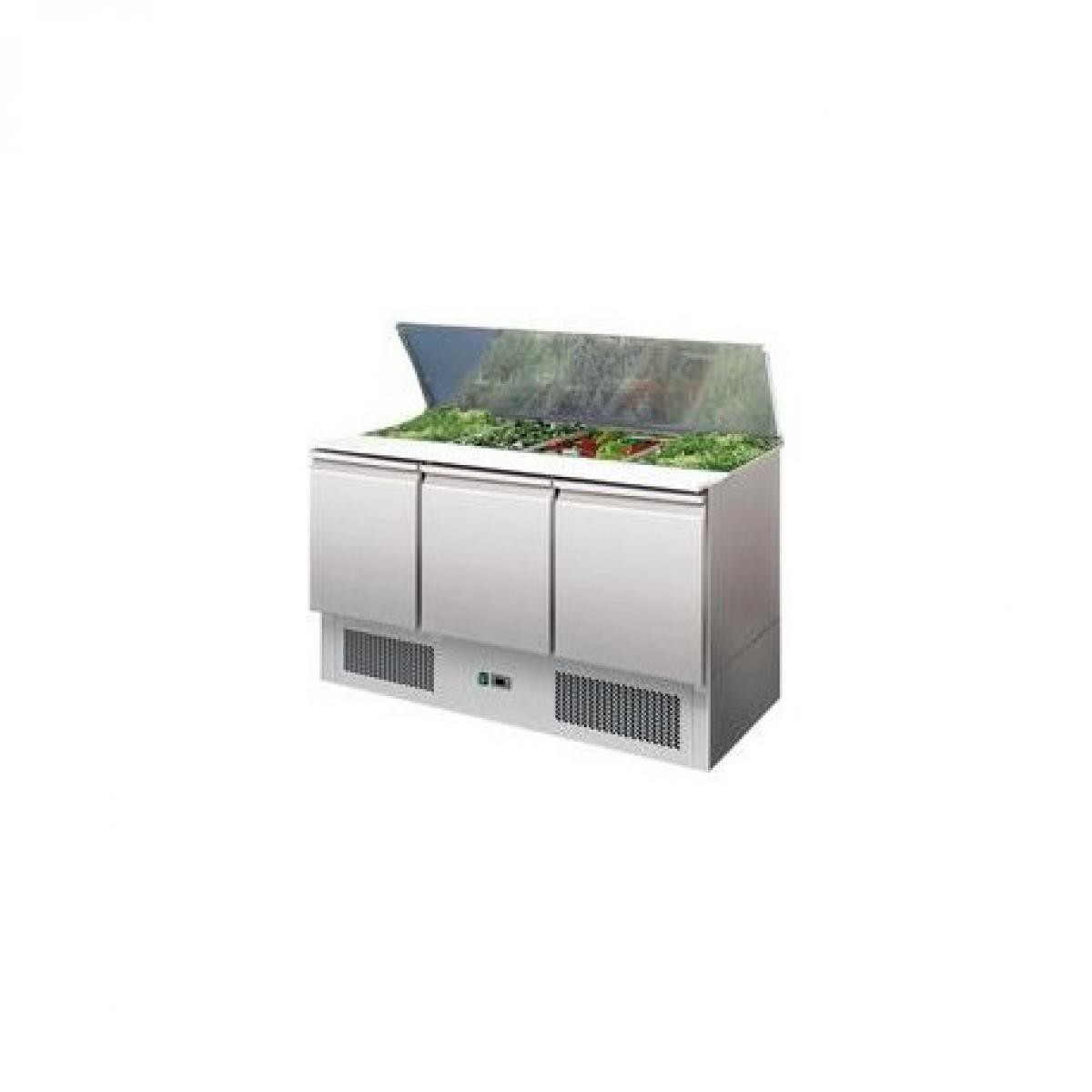 L2G Saladette réfrigérée GN 1/1- 3 portes couvercle inox - L2G - R290 3 Portes