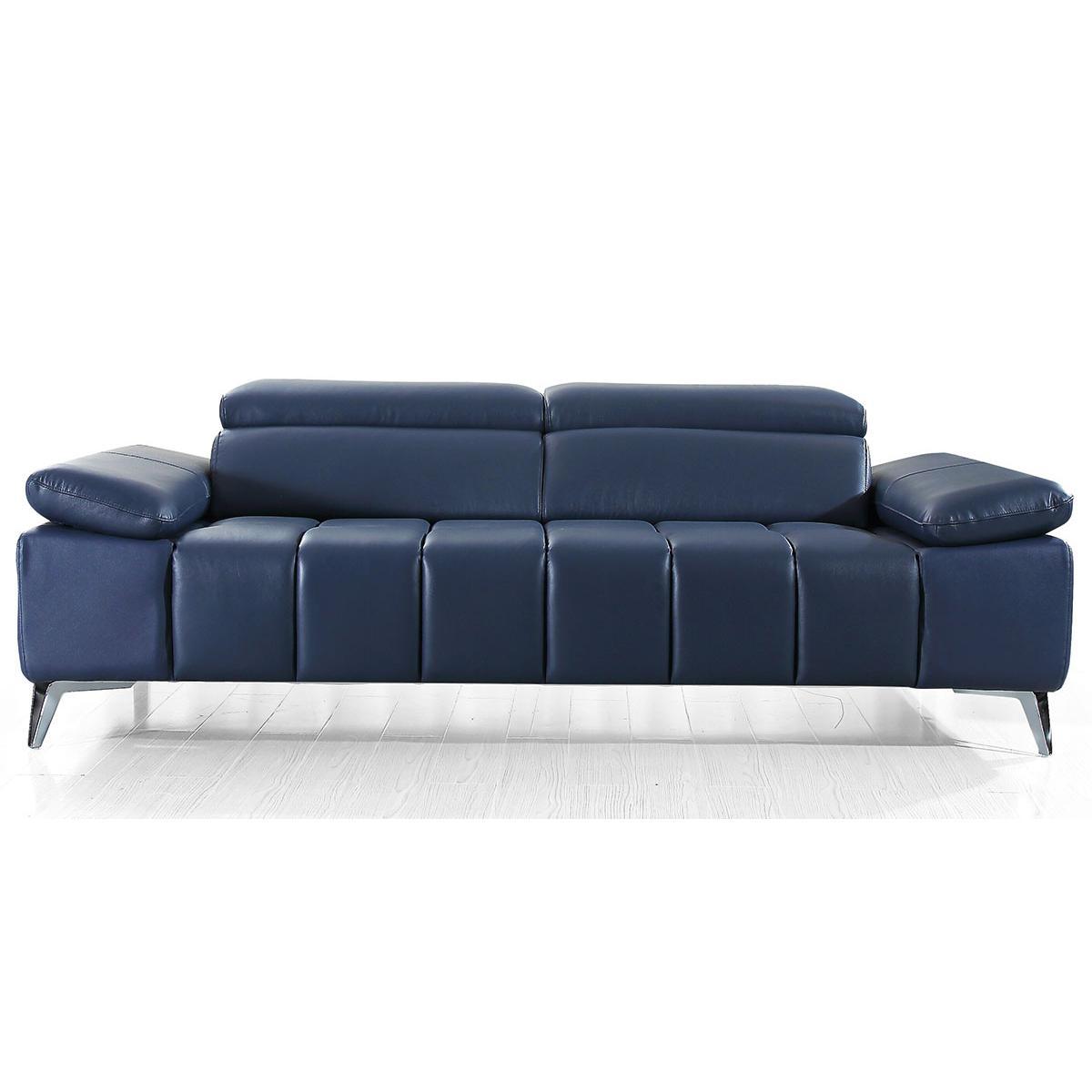 La Maison Du Canapé Canapé 3 places en cuir LYAM - Bleu