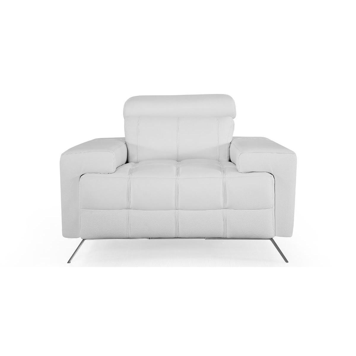 La Maison Du Canapé Fauteuil cuir Design JACOB - {habillage_canape_cuir} - Blanc