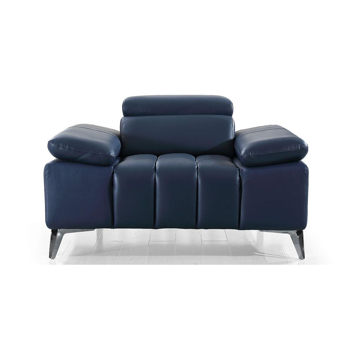 La Maison Du Canapé Fauteuil cuir Design LYAM - Bleu