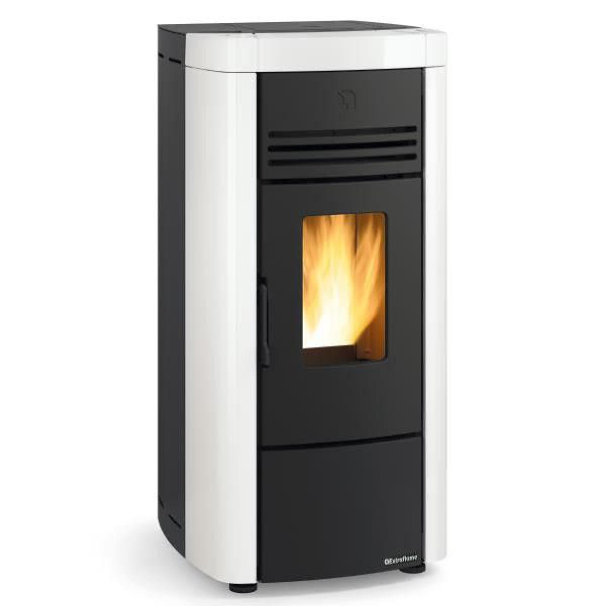 La Nordica 1282404-POELE A GRANULES ETANCHE-8KW-A+-FLAMME VERTE 7*-CSTB-FOYER FONT NORDICA EXTRAFLAME - ANGELASPBLANC