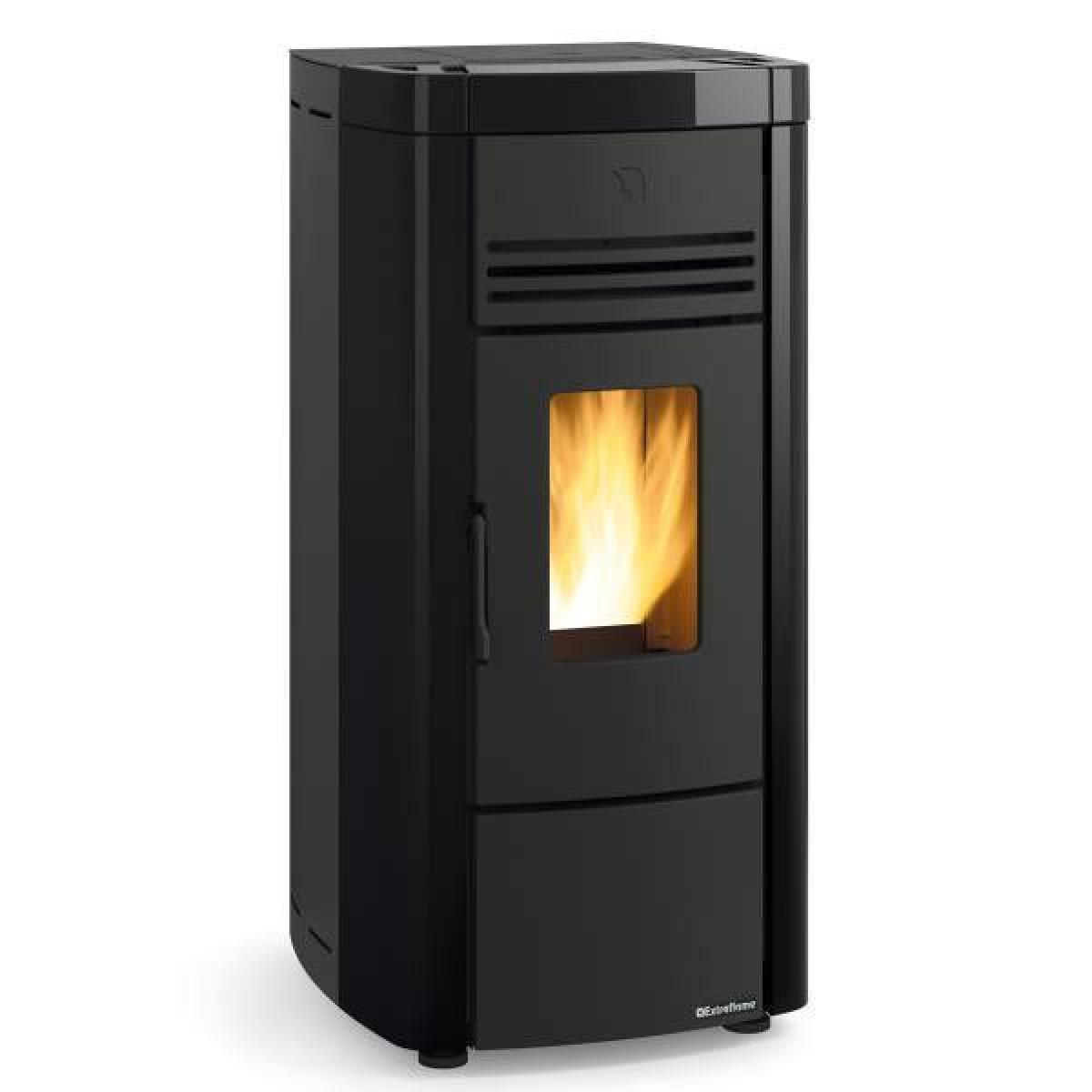 La Nordica 1282405-POELE A GRANULES ETANCHE-8KW-A+-FLAMME VERTE 7*-CSTB-FOYER FONT NORDICA EXTRAFLAME - ANGELASPNOIR