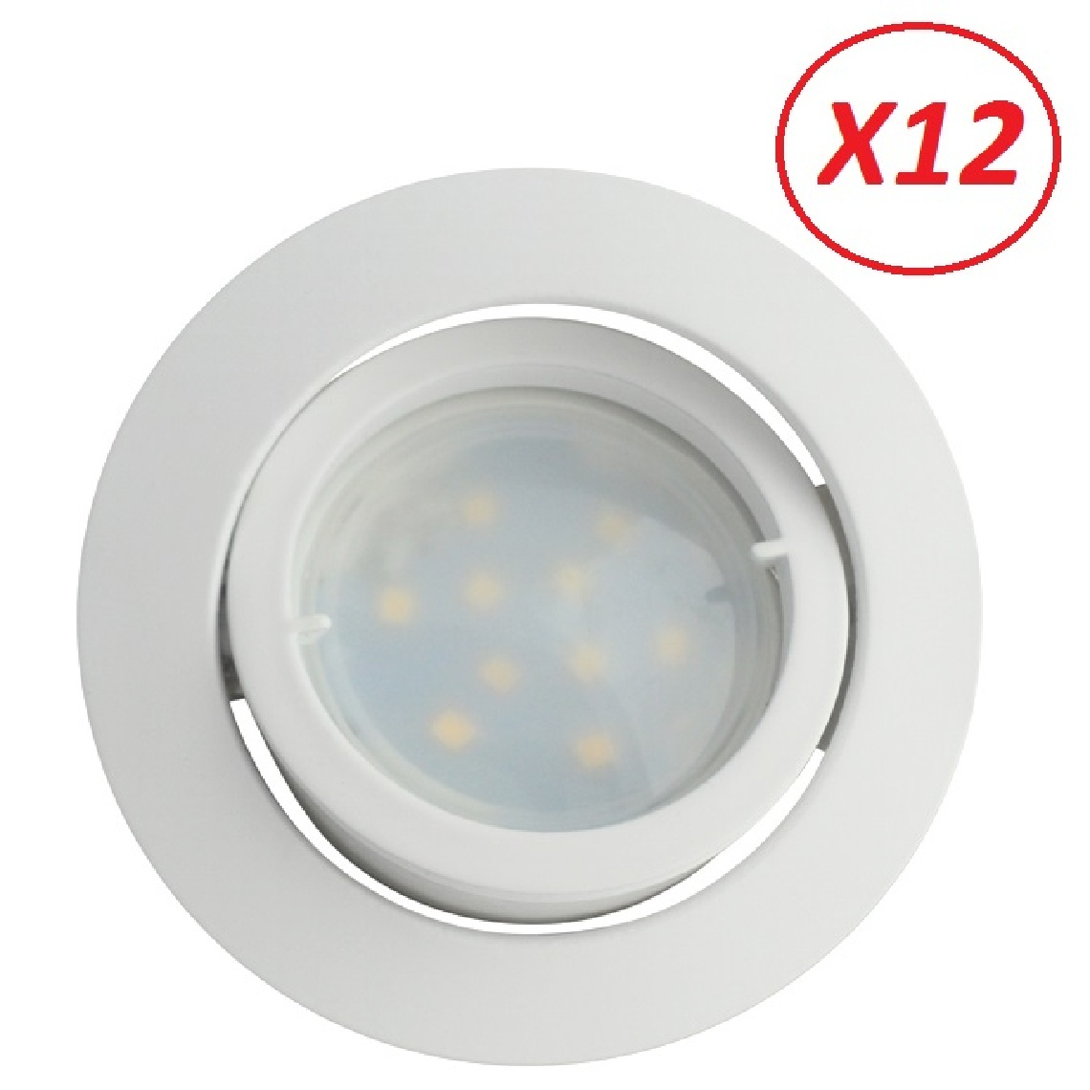 Lampesecoenergie Lot de 12 Spot Led Encastrable Complete Blanc Orientable lumière Blanc Neutre eq. 50W ref.888