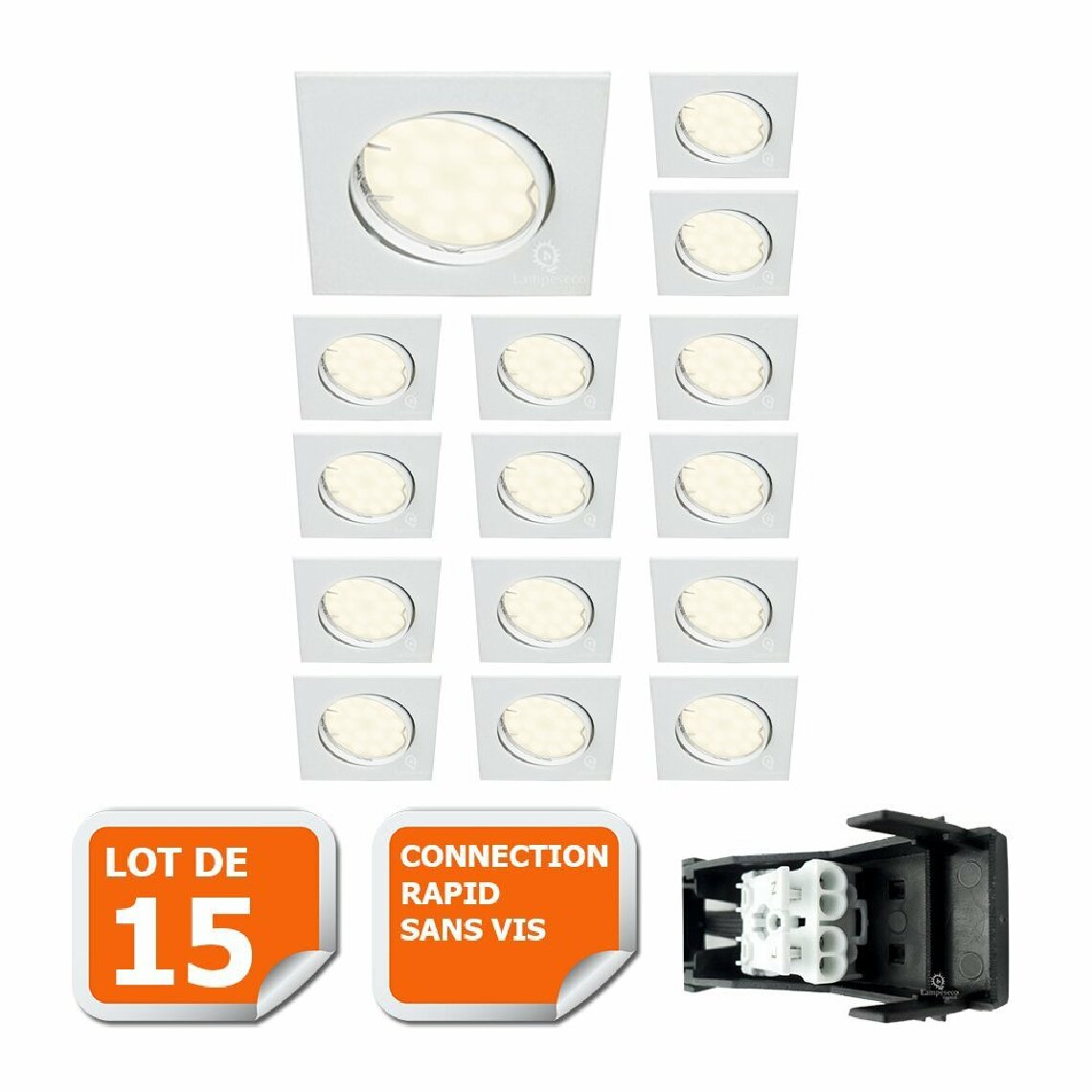 Lampesecoenergie LOT DE 15 SPOT ENCASTRABLE ORIENTABLE CARRE LED SMD GU10 230V BLANC RENDU ENVIRON 50W HALOGENE