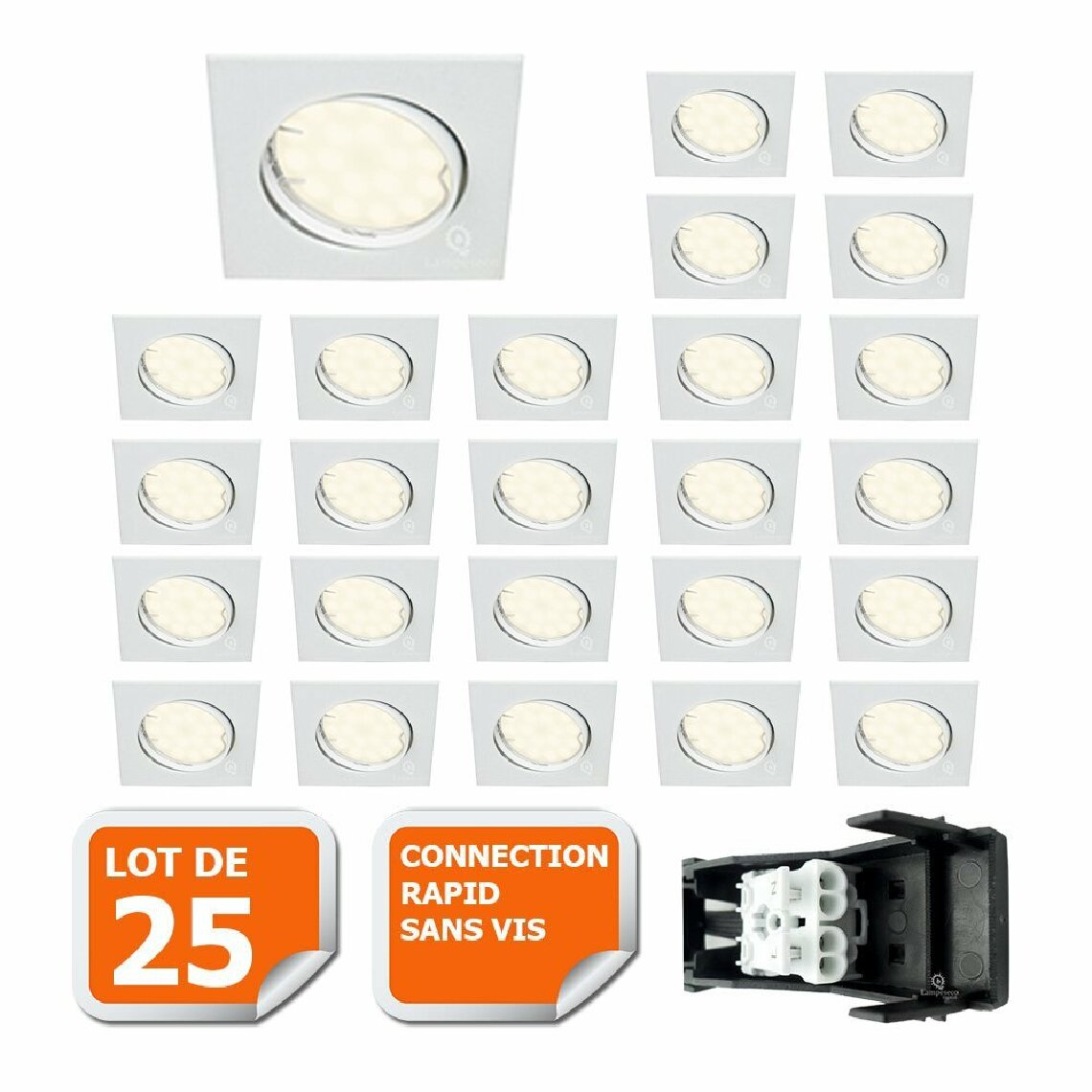 Lampesecoenergie LOT DE 25 SPOT ENCASTRABLE ORIENTABLE CARRE LED SMD GU10 230V BLANC RENDU ENVIRON 50W HALOGENE