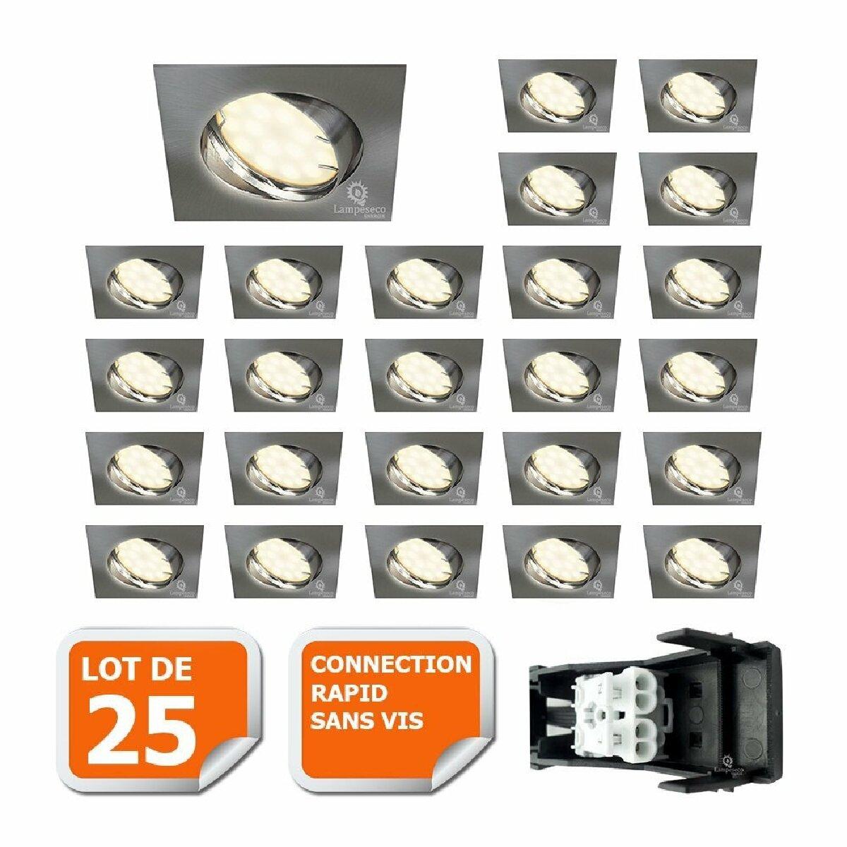Lampesecoenergie LOT DE 25 SPOT ENCASTRABLE ORIENTABLE LED CARRE ALU BROSSE GU10 230V eq. 50W BLANC NEUTRE