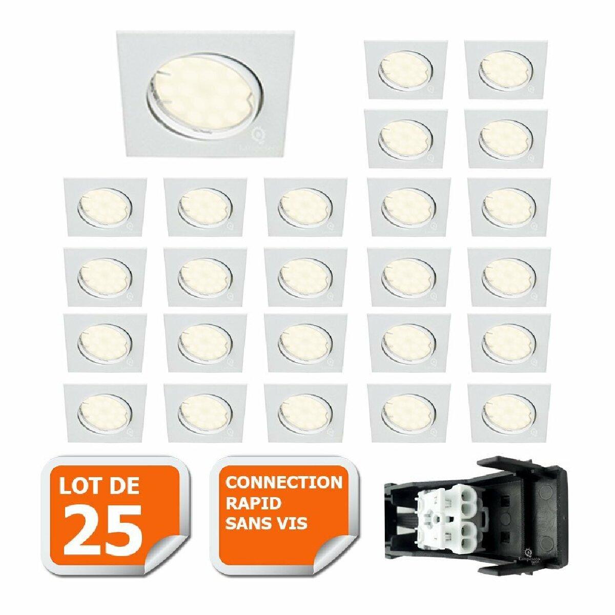 Lampesecoenergie LOT DE 25 SPOT ENCASTRABLE ORIENTABLE LED CARRE GU10 230V eq. 50W BLANC NEUTRE