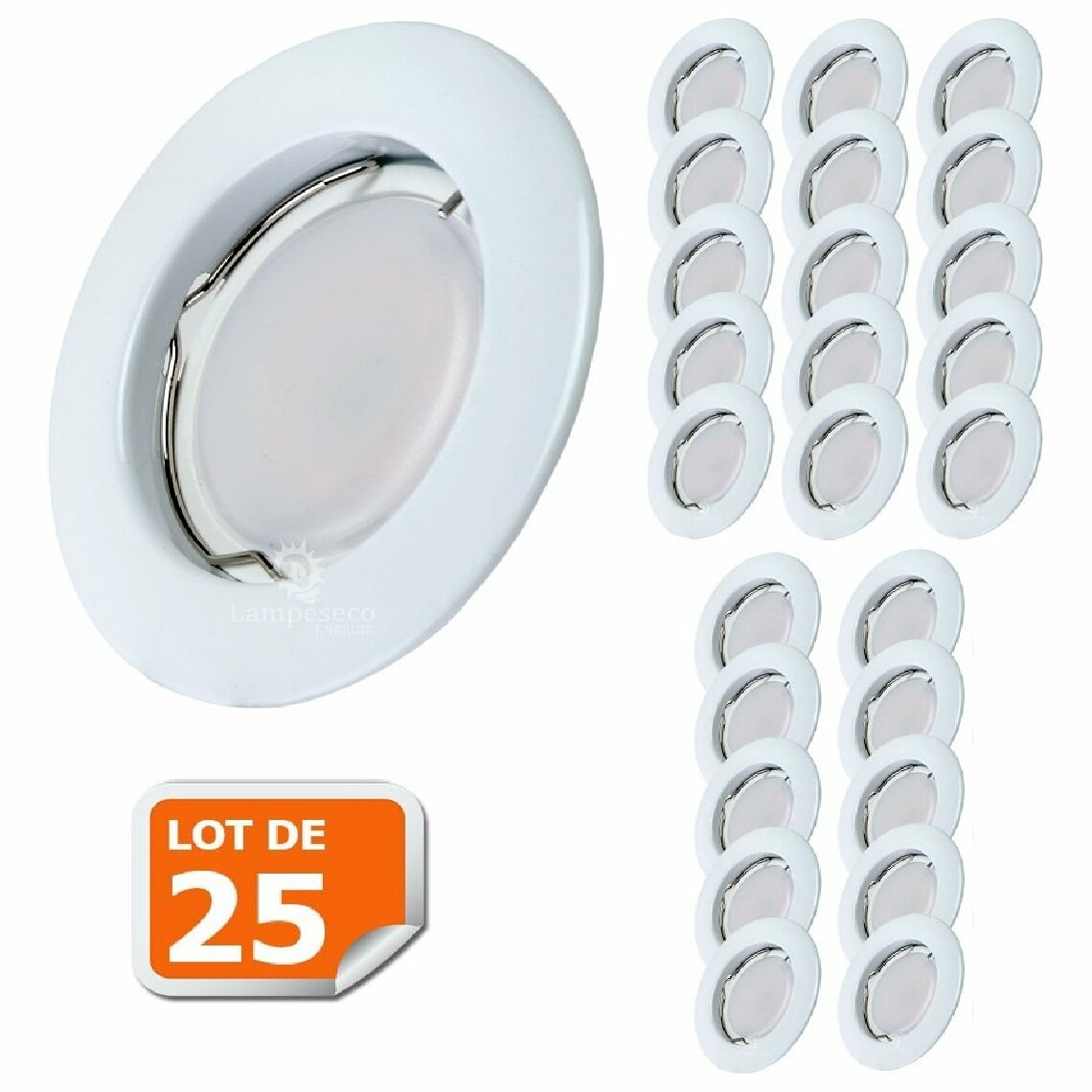 Lampesecoenergie Lot de 25 Spot Led Encastrable Complete Blanc Lumière Blanc Chaud 5W eq.50W ref.267