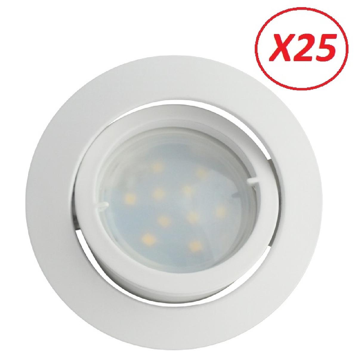 Lampesecoenergie Lot de 25 Spot Led Encastrable Complete Blanc Orientable lumière Blanc Neutre eq. 50W ref.888