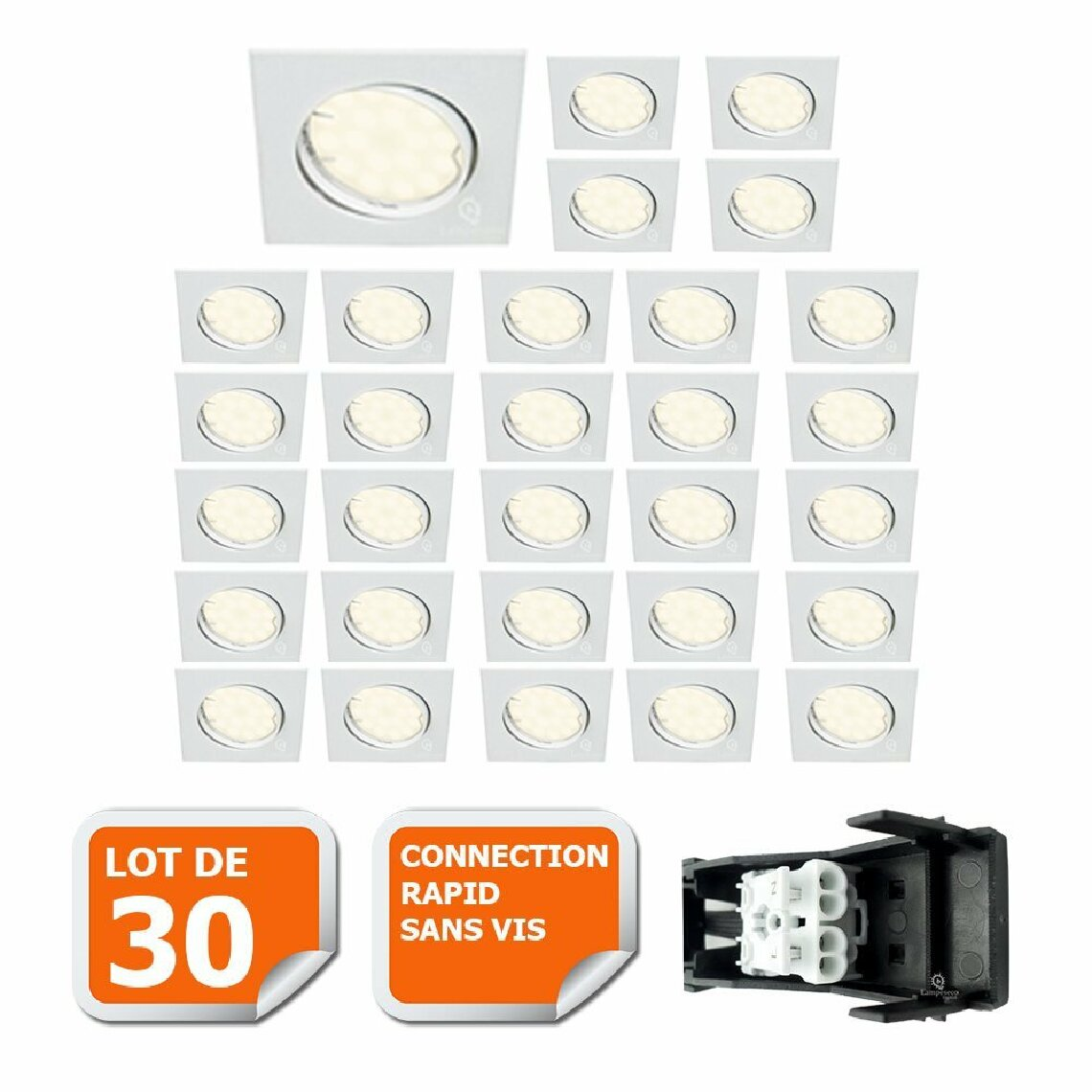 Lampesecoenergie LOT DE 30 SPOT ENCASTRABLE ORIENTABLE CARRE LED SMD GU10 230V BLANC RENDU ENVIRON 50W HALOGENE