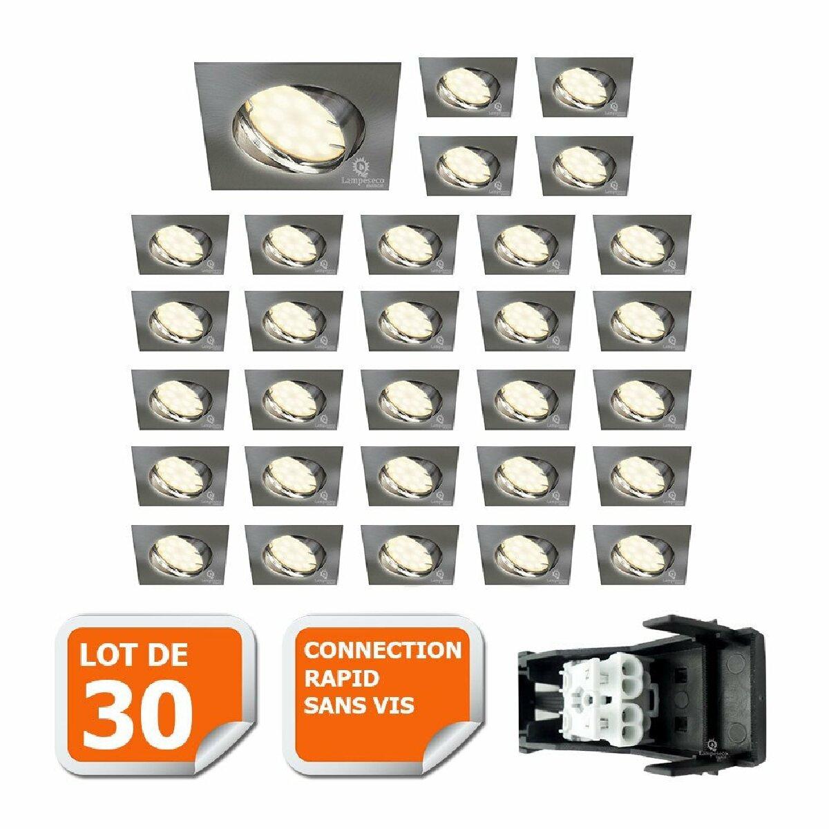 Lampesecoenergie LOT DE 30 SPOT ENCASTRABLE ORIENTABLE LED CARRE ALU BROSSE GU10 230V eq. 50W BLANC CHAUD