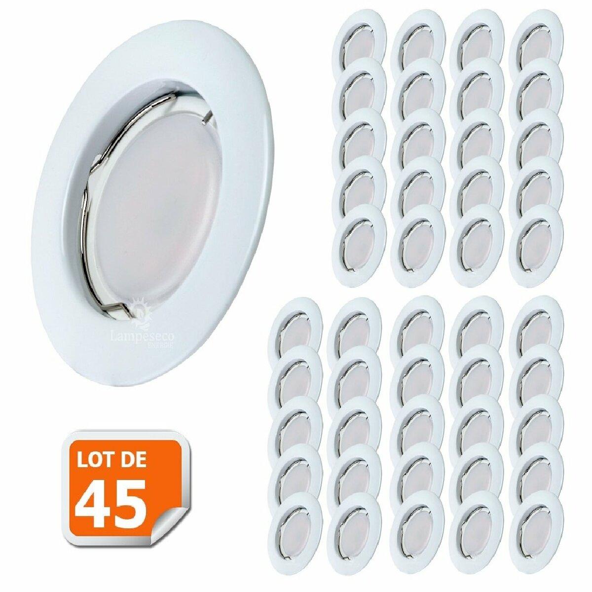 Lampesecoenergie Lot de 45 Spot Led Encastrable Complete Blanc Lumière Blanc Chaud 5W eq.50W ref.267