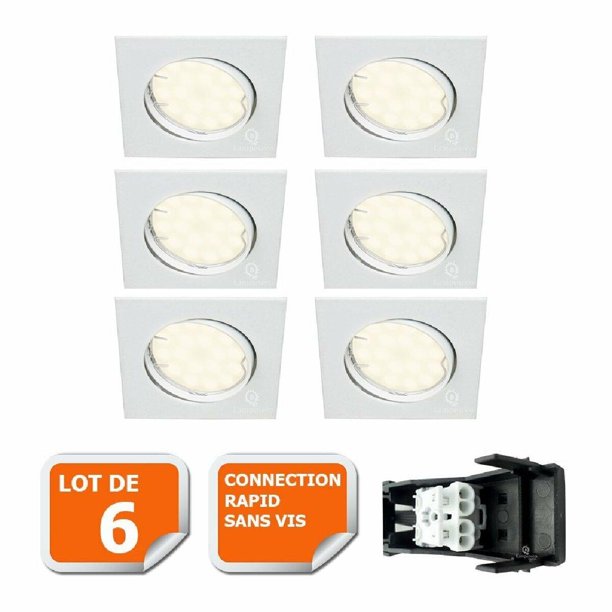 Lampesecoenergie LOT DE 6 SPOT ENCASTRABLE ORIENTABLE CARRE LED SMD GU10 230V BLANC RENDU ENVIRON 50W HALOGENE