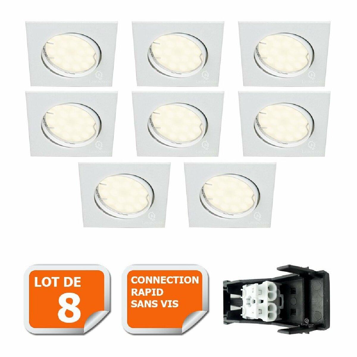 Lampesecoenergie LOT DE 8 SPOT ENCASTRABLE ORIENTABLE LED CARRE GU10 230V eq. 50W BLANC NEUTRE