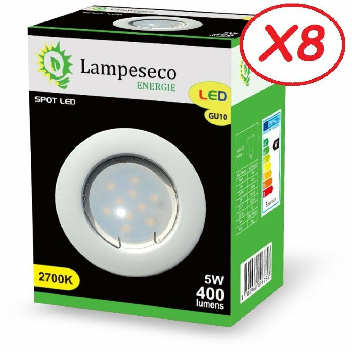 Lampesecoenergie Lot de 8 Spot Led Encastrable Complete Blanc Lumière Blanc Chaud 5W eq.50W ref.267