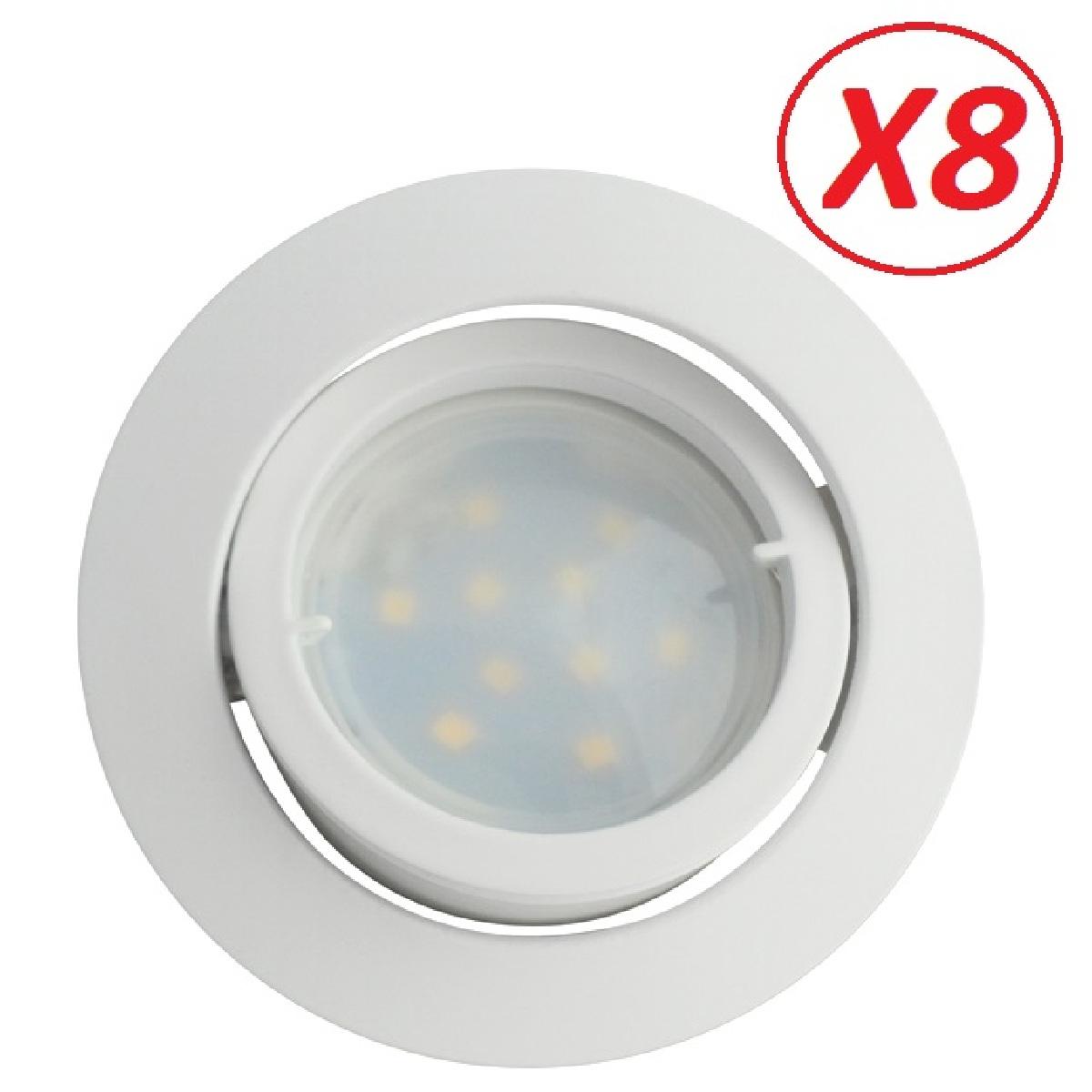 Lampesecoenergie Lot de 8 Spot Led Encastrable Complete Blanc Orientable lumière Blanc Neutre eq. 50W ref.888