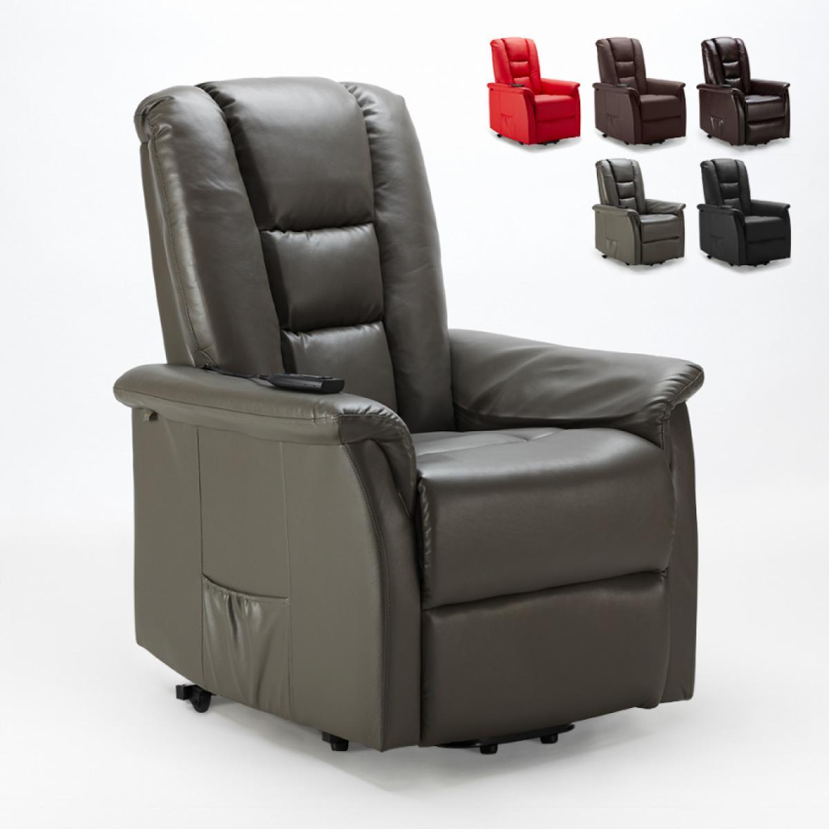 Le Roi du Relax Fauteuil de relaxation avec système d'inclinaison simili-cuir 2 roues Joanna, Couleur: Gris