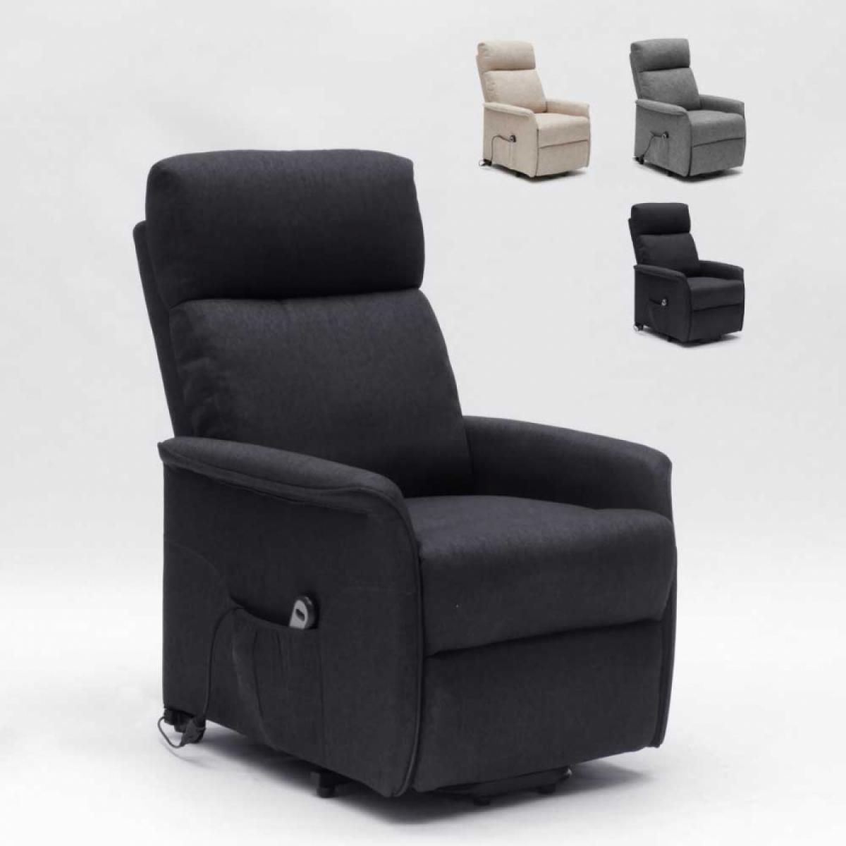 Le Roi du Relax Fauteuil relax électrique 2 moteurs système lève-personnes pour seniors Giorgia+, Couleur: Noir