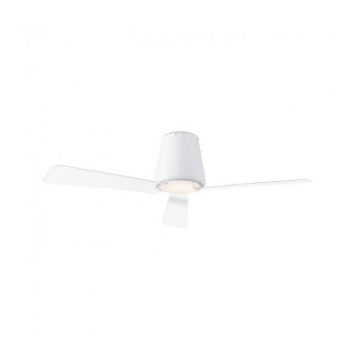 Leds C4 Plafonnier-ventilateur Garbi, en acier, verre et acrylique, blanc
