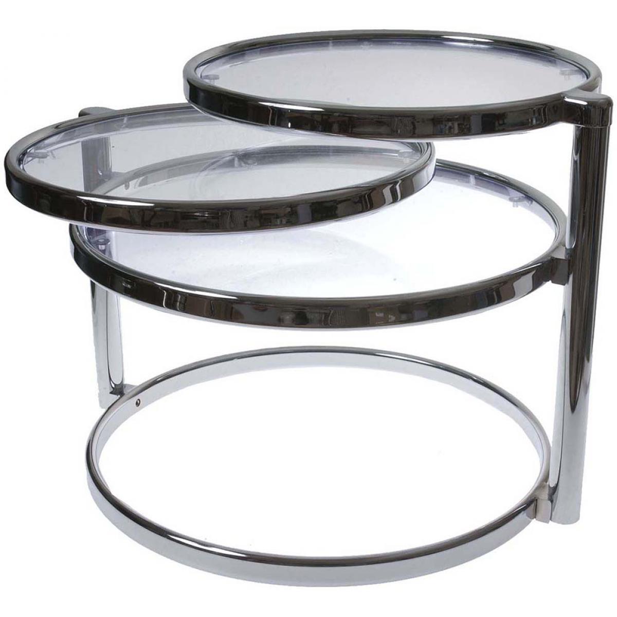 Leitmotiv Table basse 3 plateaux en verre et métal chromé