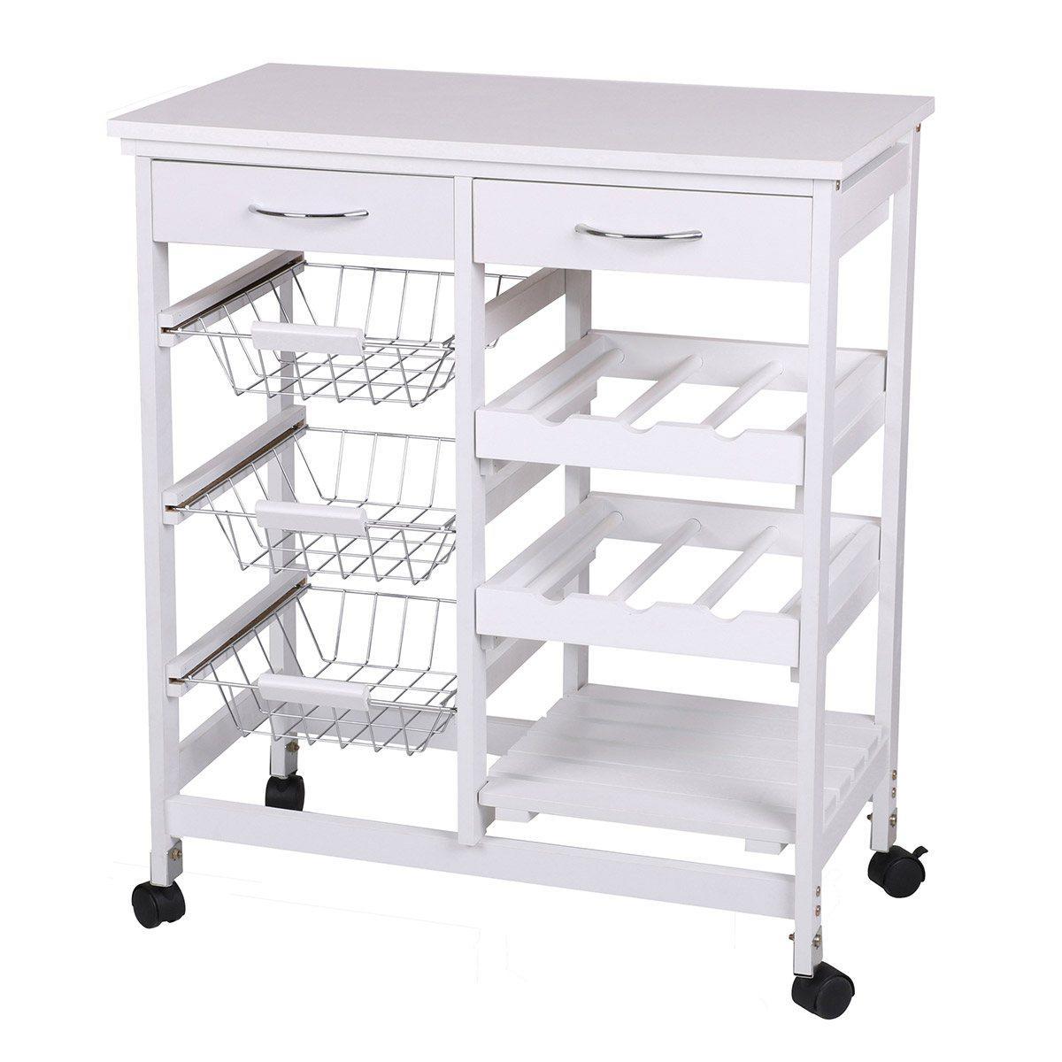 Les Douces Nuits De Mae Desserte 2 tiroirs 3 paniers métal blanc