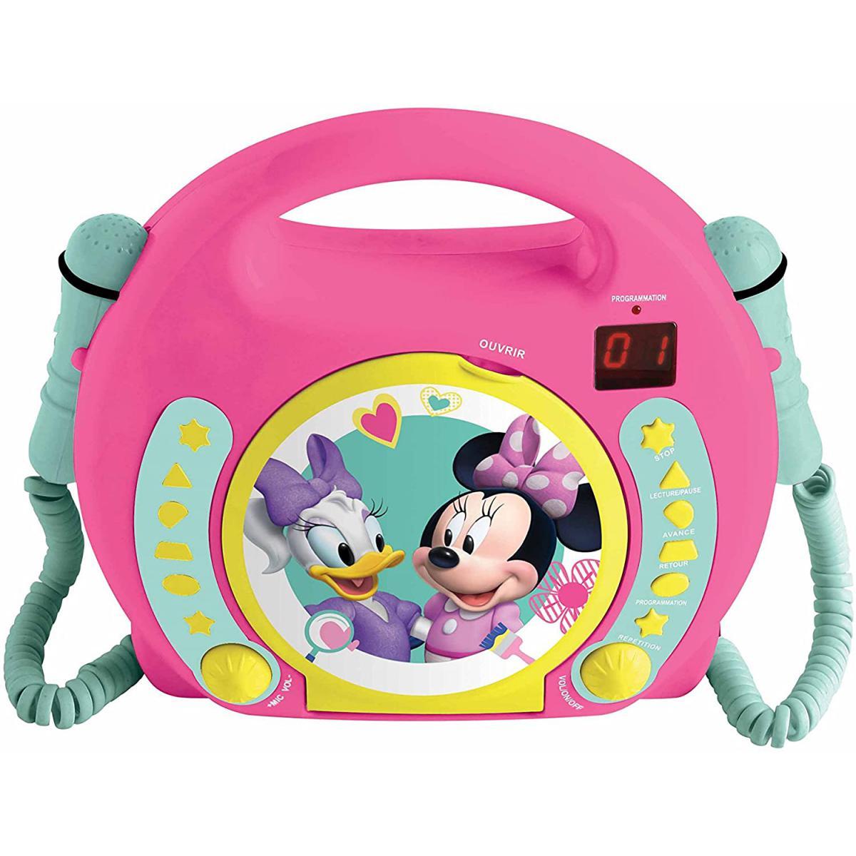 lexibook Lecteur CD pour enfant avec 2 microphones à piles Disney Junior Minnie Mouse rose