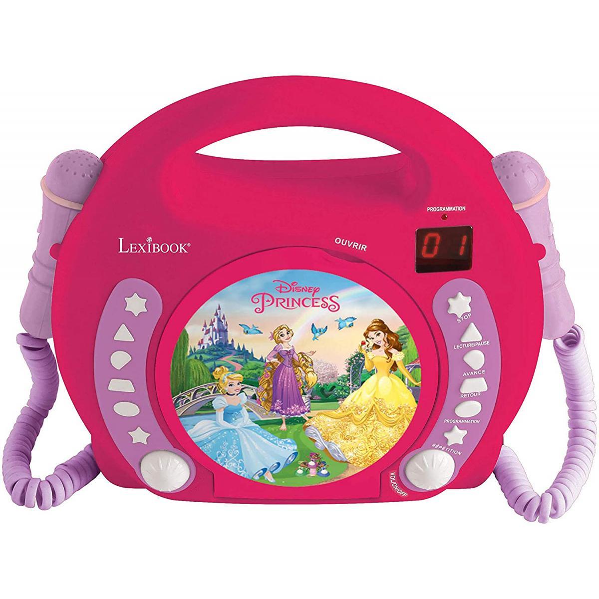 lexibook Lecteur CD pour enfant avec 2 microphones à piles Disney Princesses Raiponce rose