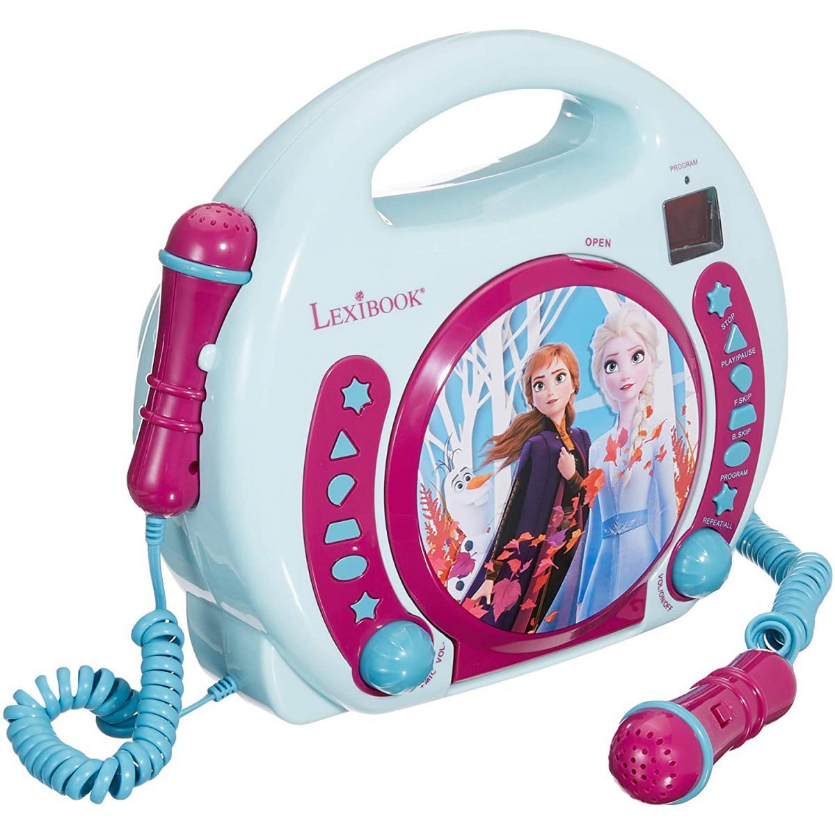 lexibook Lecteur CD pour enfant avec 2 microphones à piles La Reine des Neiges Elsa bleu blanc