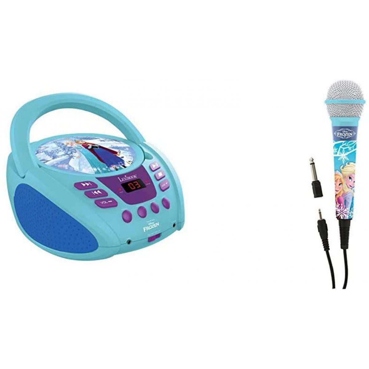 lexibook radio portable CD AUX-IN à piles ou secteur avec micro Disney Frozen La Reine des Neiges Elsa bleu blanc