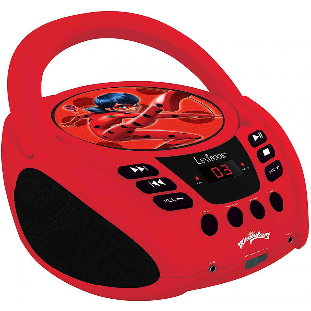 lexibook radio portable CD AUX-IN à piles ou secteur Disney Miraculous rouge noir
