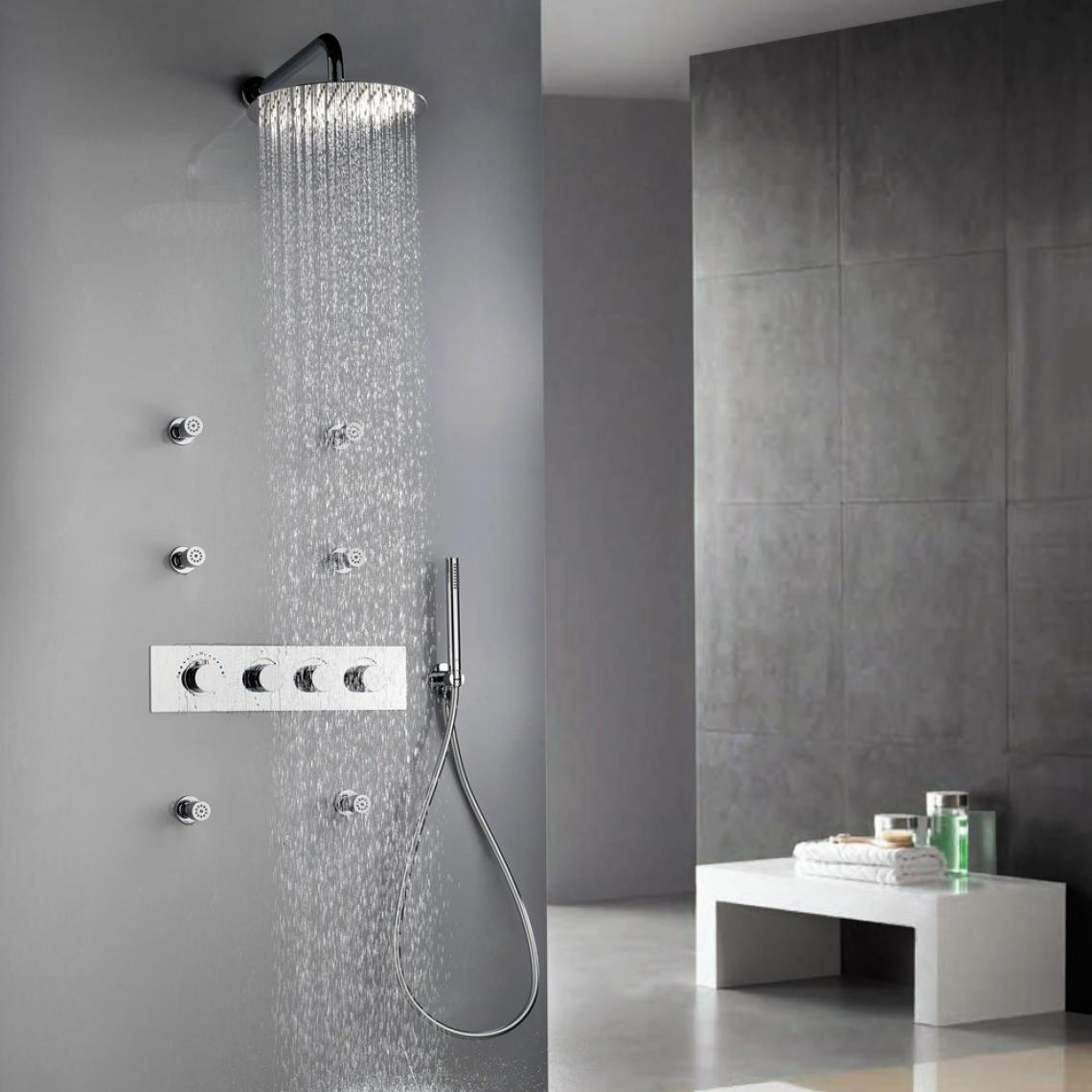 Lookshop Ensemble de douche thermostatique contemporaine avec six jets vaporisateurs 250 mm