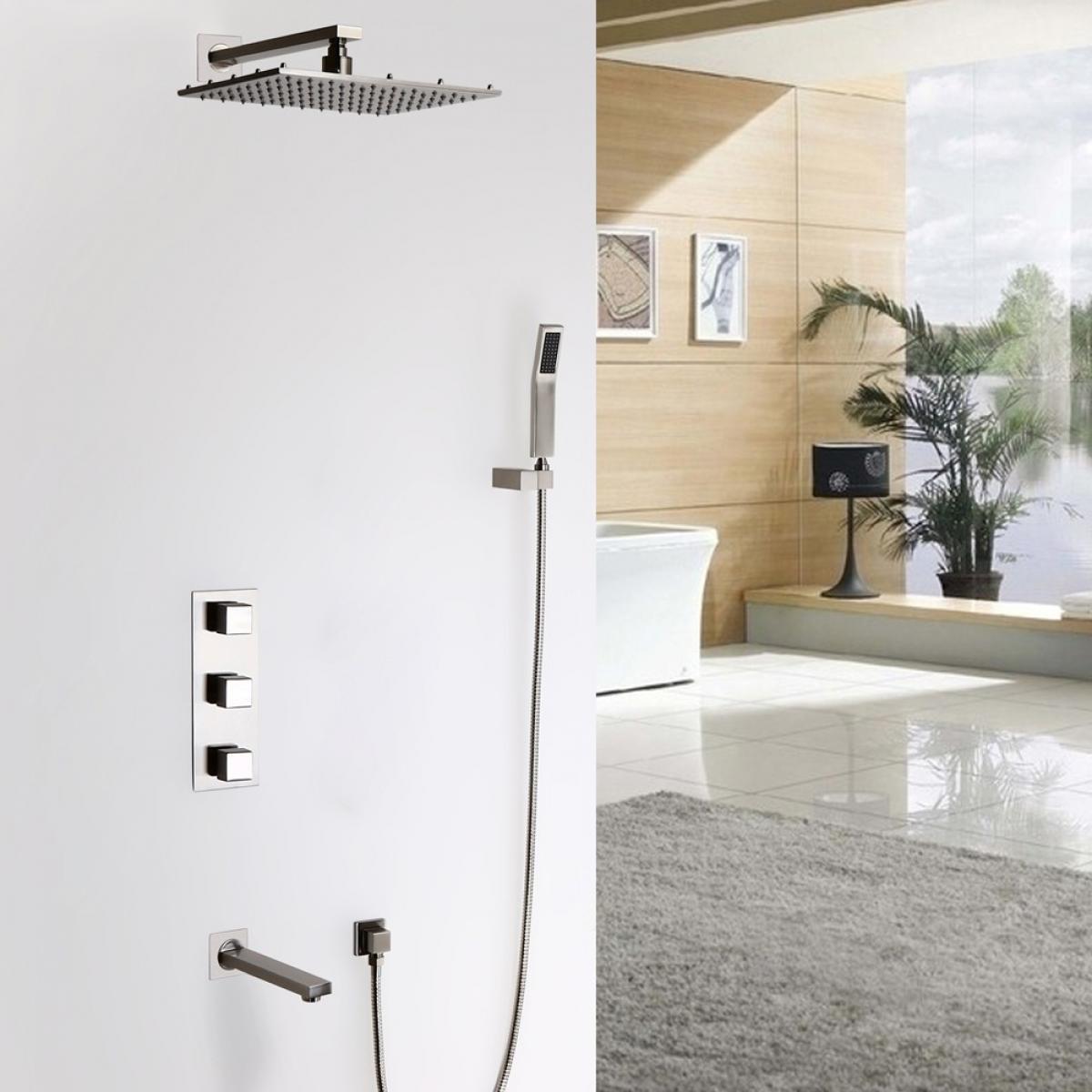 Lookshop Système de douche thermostatique et bec de baignoire thermostatique support mural Avec LED 200 mm