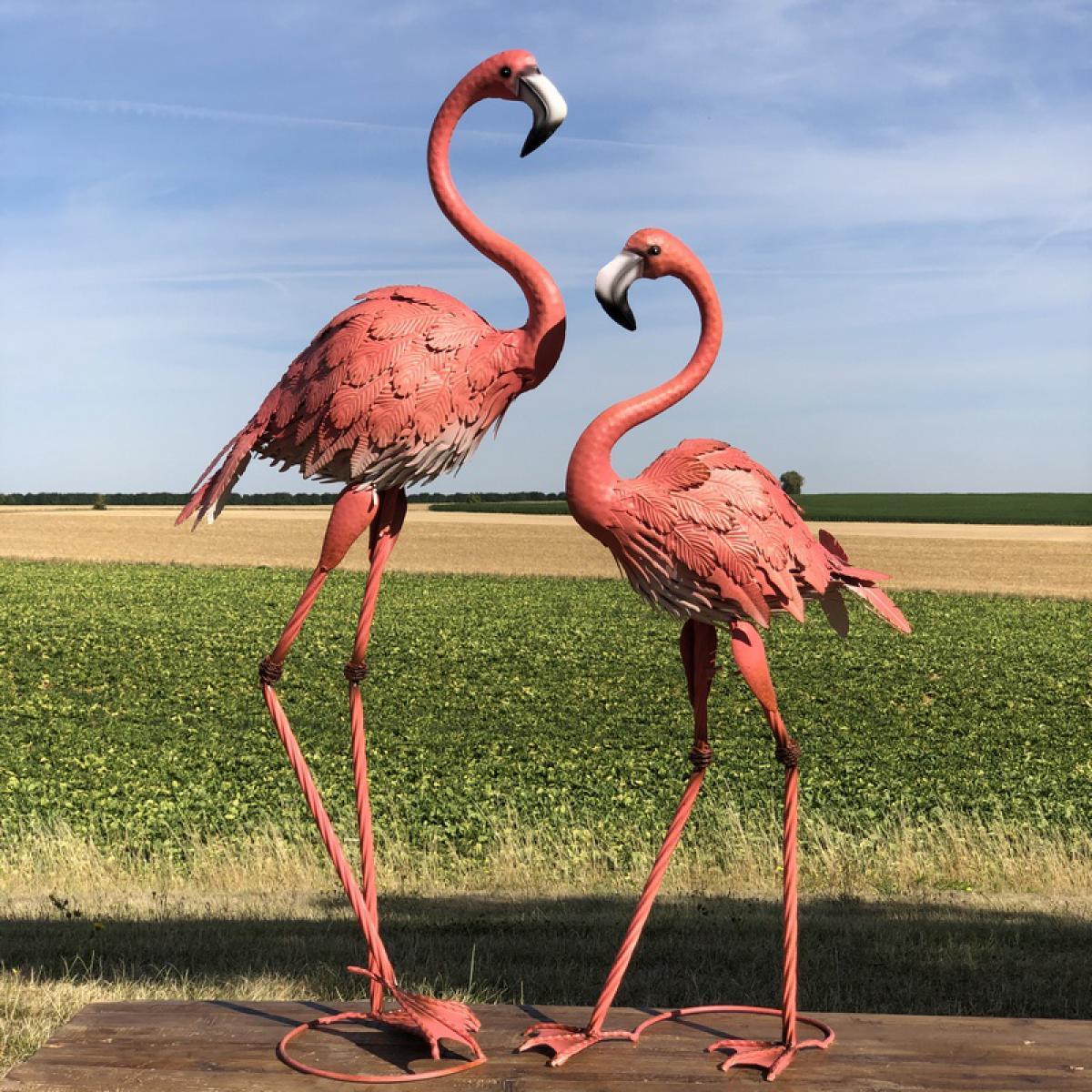 L'Originale Deco Animaux Flamant Rose Décoration Oiseau de Déco Jardin Fer Métal Héron Grue Ibis
