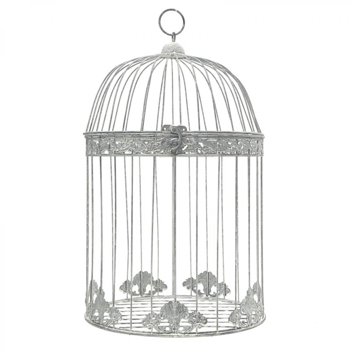 L'Originale Deco Grande Cage Oiseaux Ronde Décoration Gris 50 cm x ø30 cm